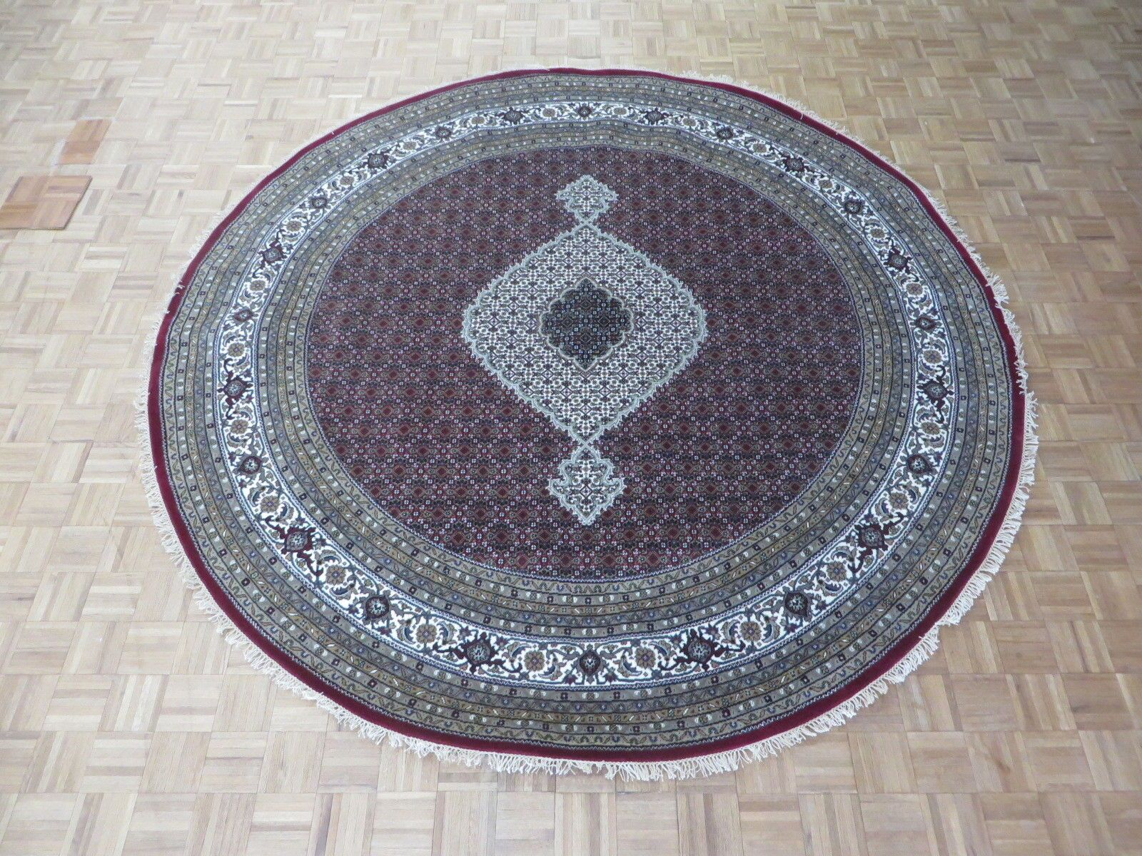 One-of-a-Kind Raiden Round Tabriz Hand-Knotted Purple/Gray Area Rug