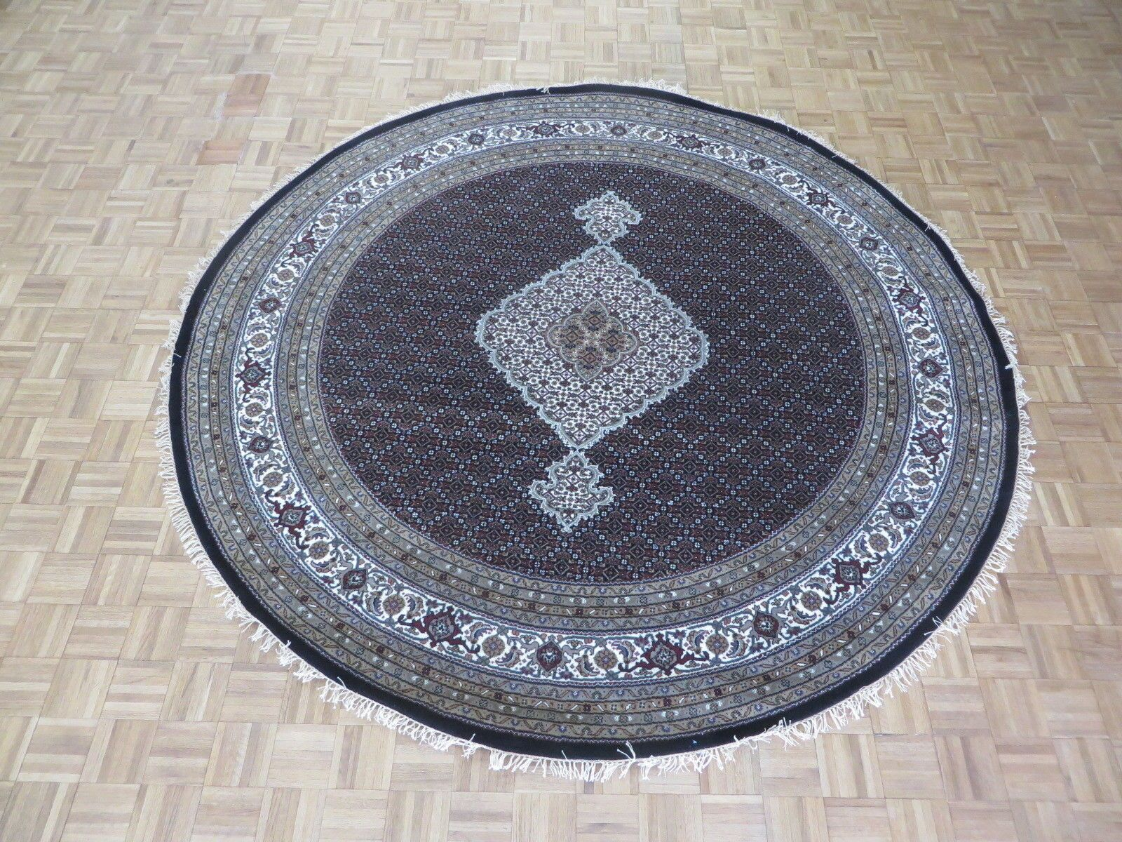 One-of-a-Kind Raiden Tabriz Round Hand-Knotted Black Area Rug