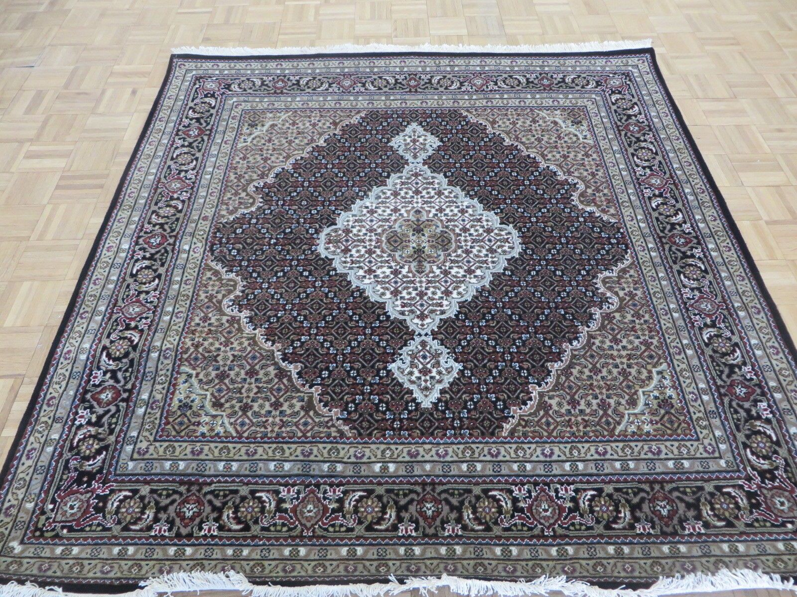 One-of-a-Kind Raiden Persian Tabriz Square Hand-Knotted Black Area Rug