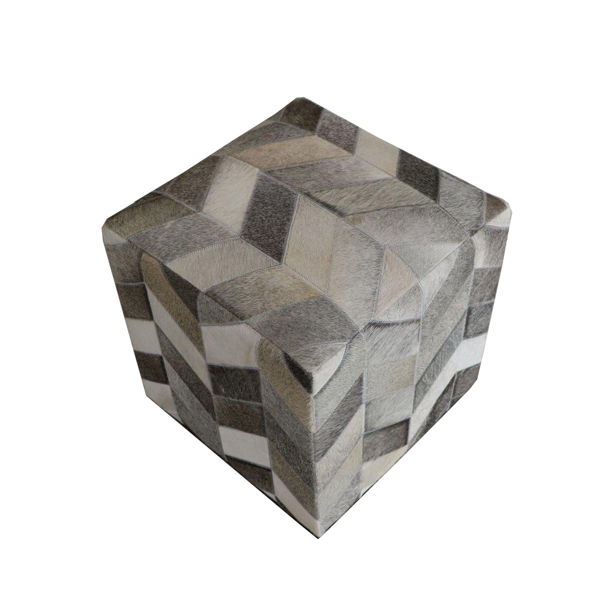 Golla Geometric Hide Pouf Upholstery: Gray/Black
