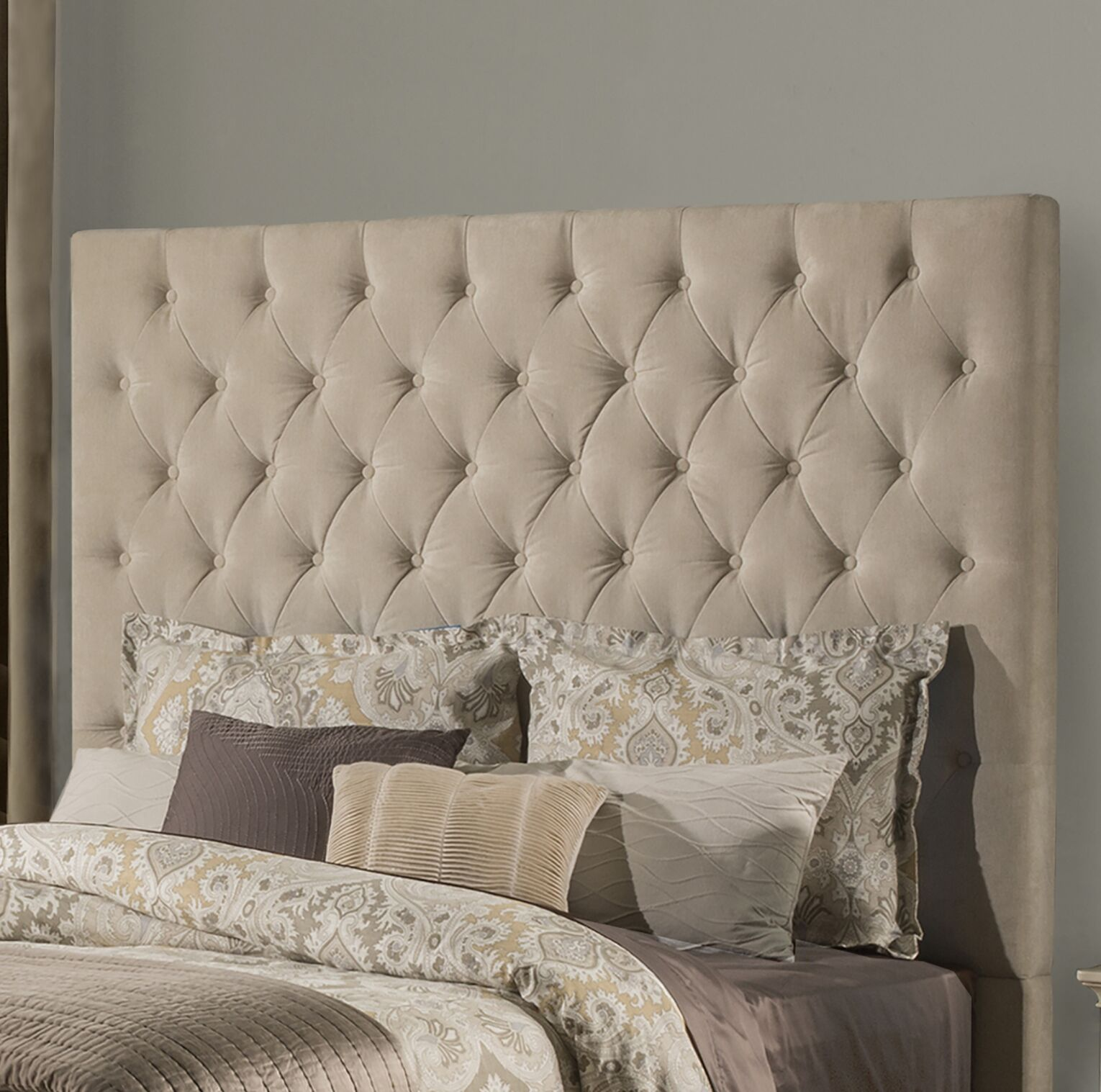 Keesee Panel Headboard Color: Beige, Size: King