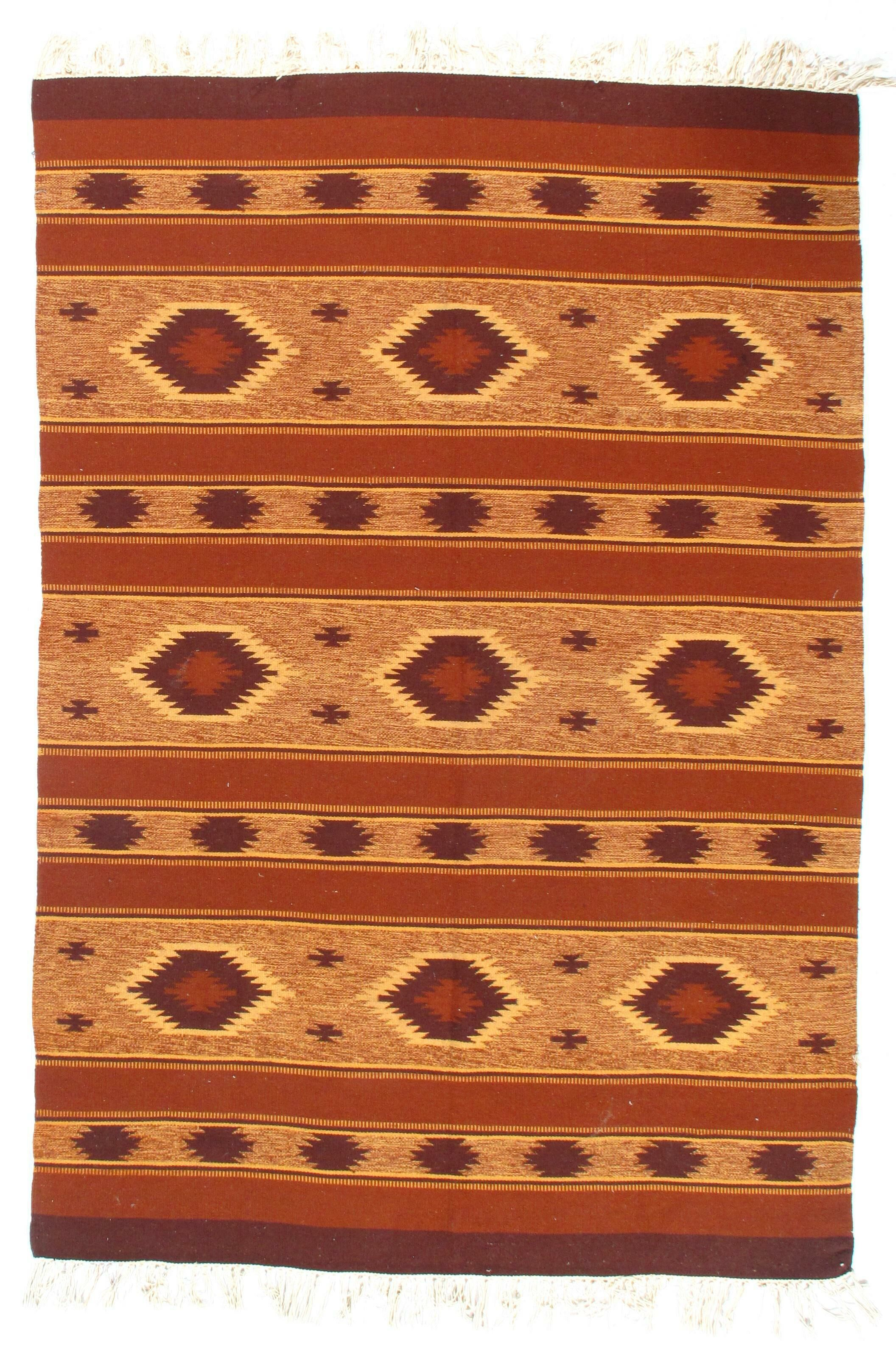 Afghan Baluch Kilim Hand-Knotted Wool Brown/Red Area Rug