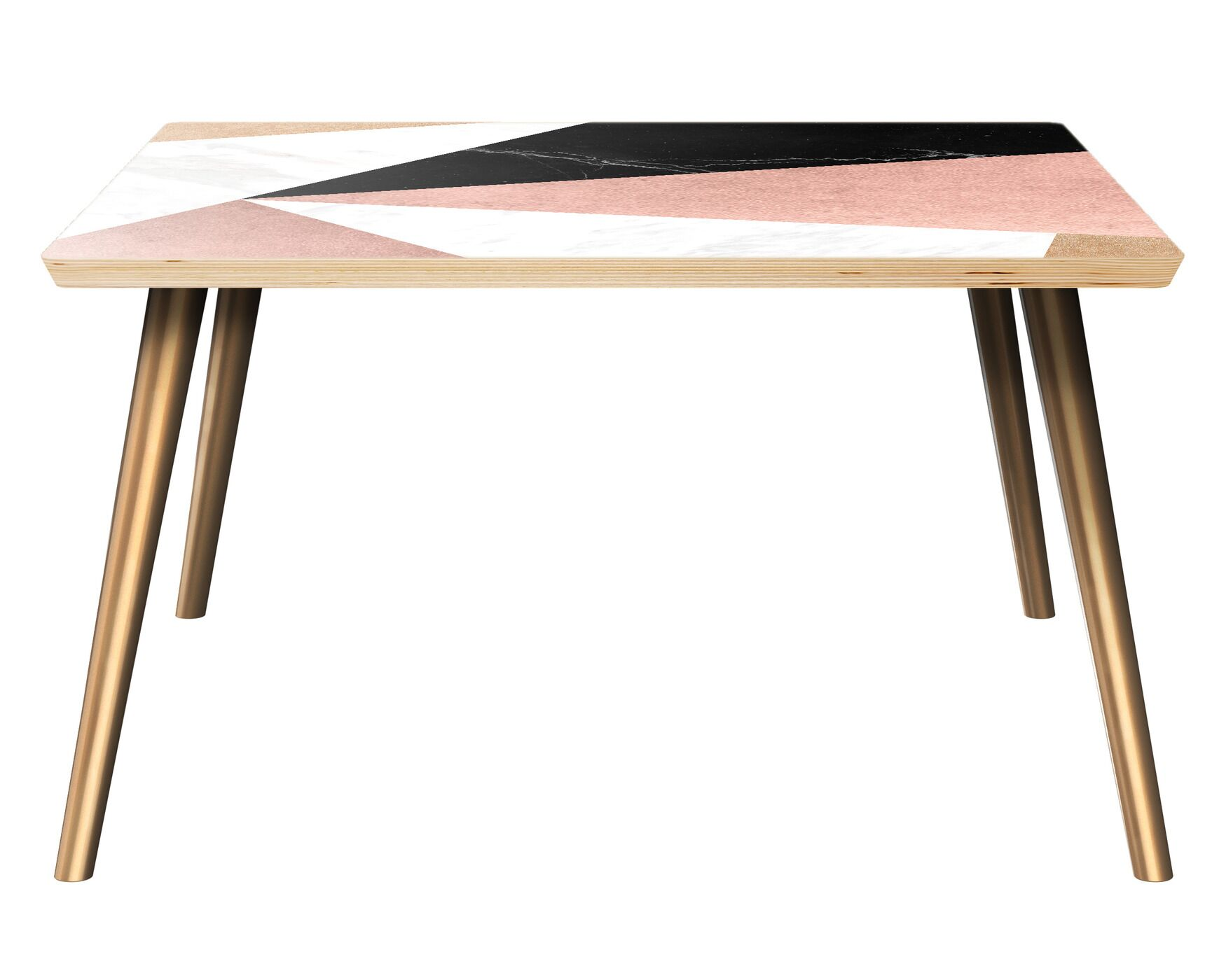 Roybal Coffee Table Table Top Color: Natural, Table Base Color: Brass