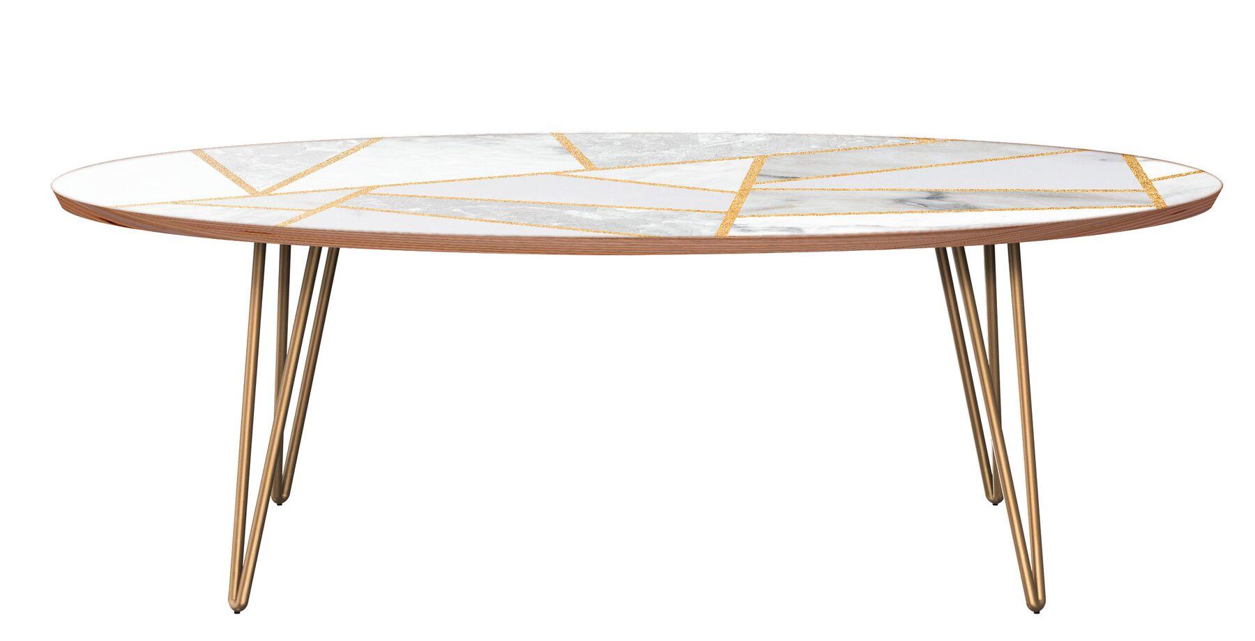 Mcgill Coffee Table Table Base Color: Brass, Table Top Color: Walnut/White