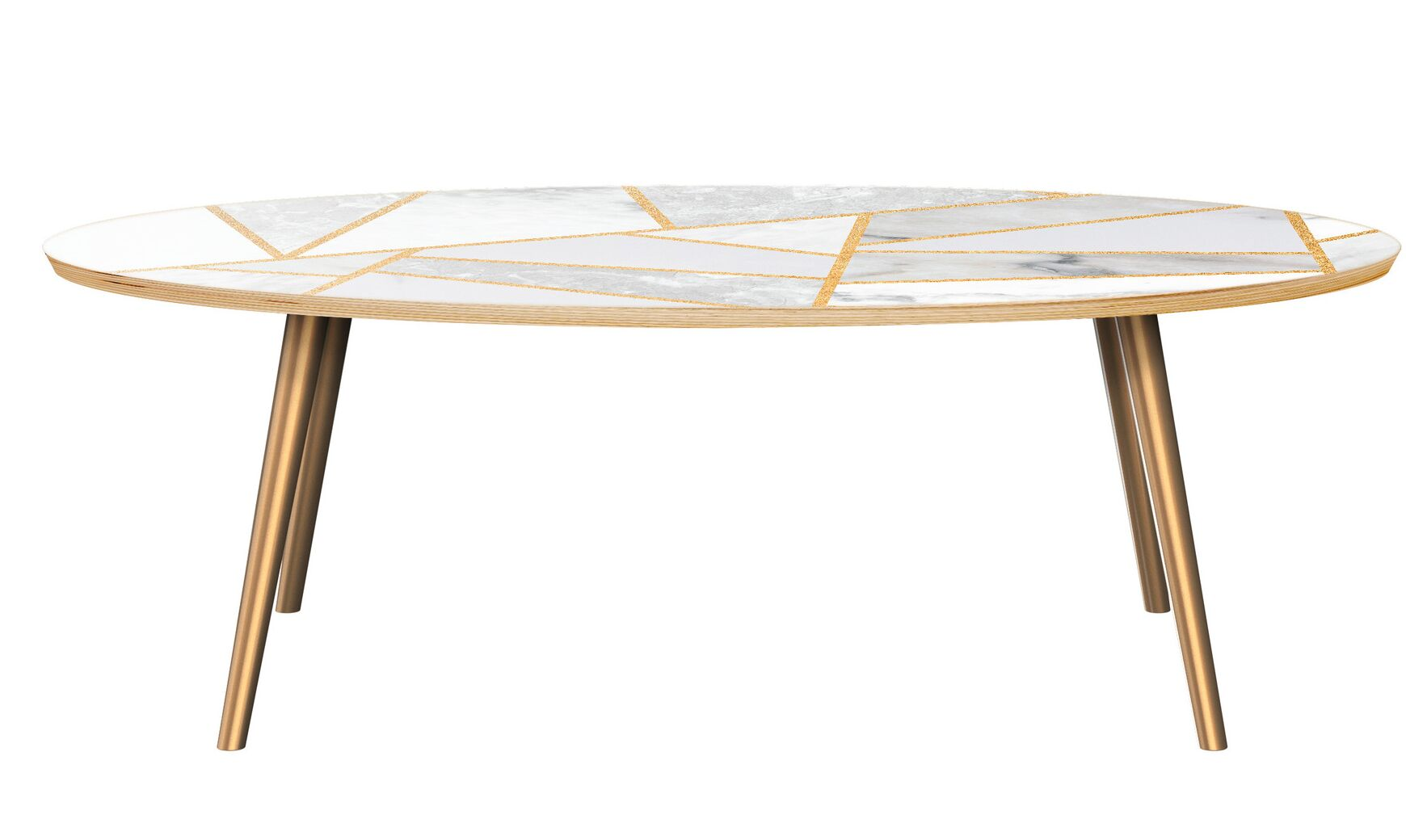 Mcginley Coffee Table Table Top Color: Natural/White, Table Base Color: Brass