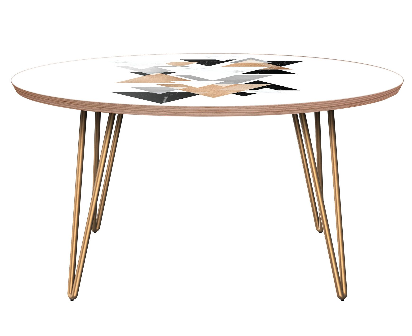 Laurens Coffee Table Table Base Color: Brass, Table Top Color: Walnut