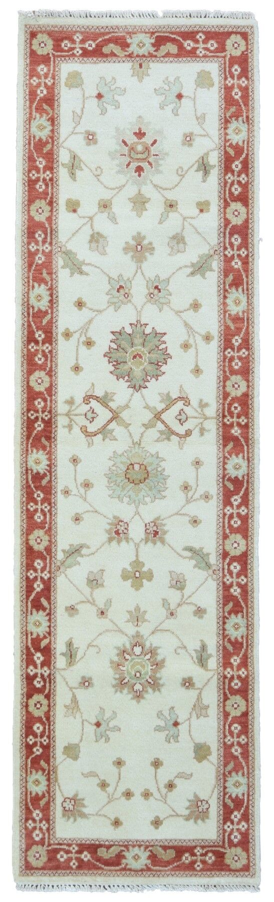 One-of-a-Kind Baron Hand-Knotted Wool Beige/Red Area Rug