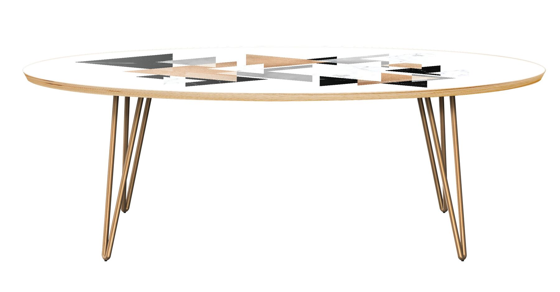 Serena Coffee Table Table Top Color: Natural, Table Base Color: Brass