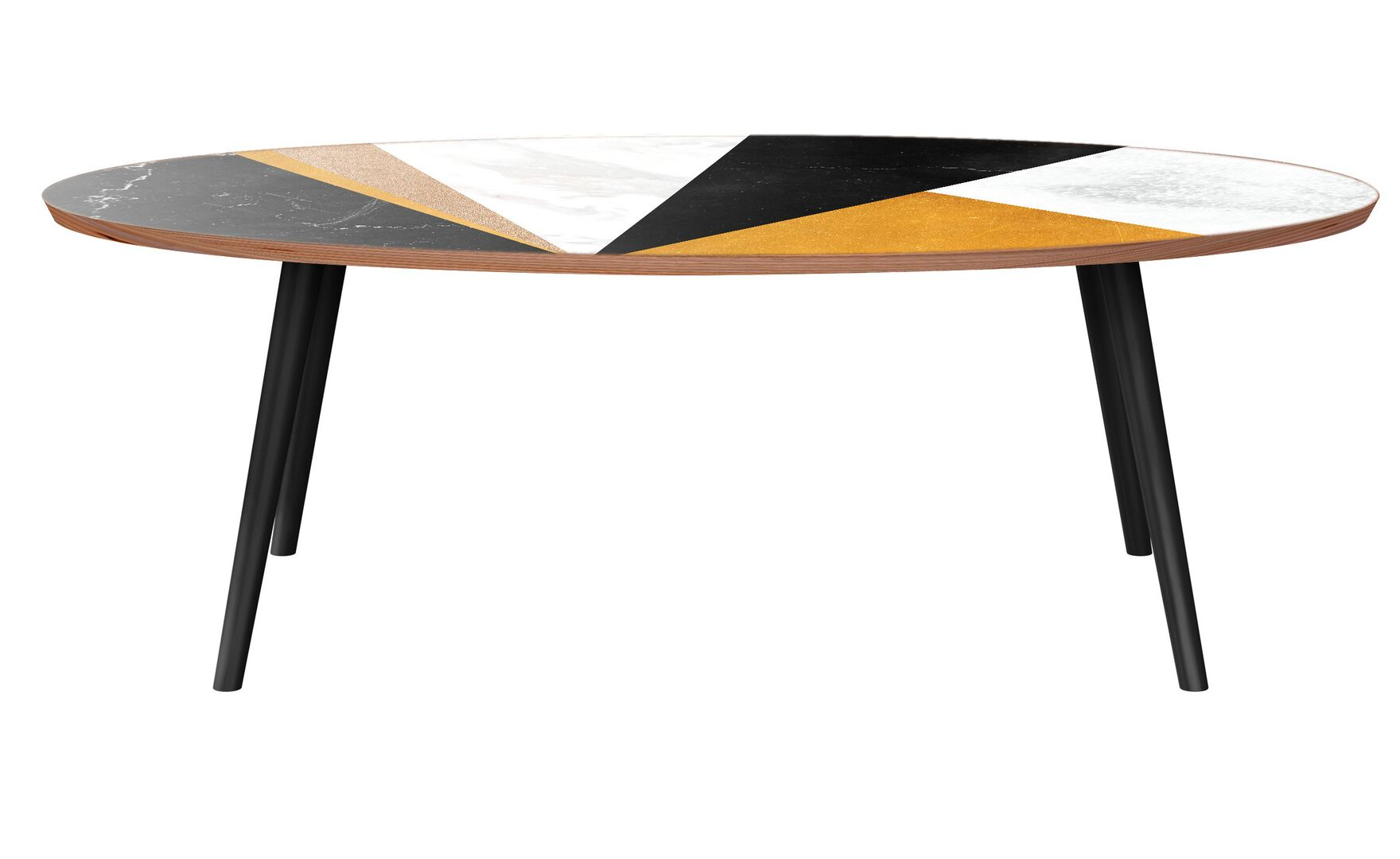 Guthridge Coffee Table Table Top Color: Walnut/Black, Table Base Color: Black