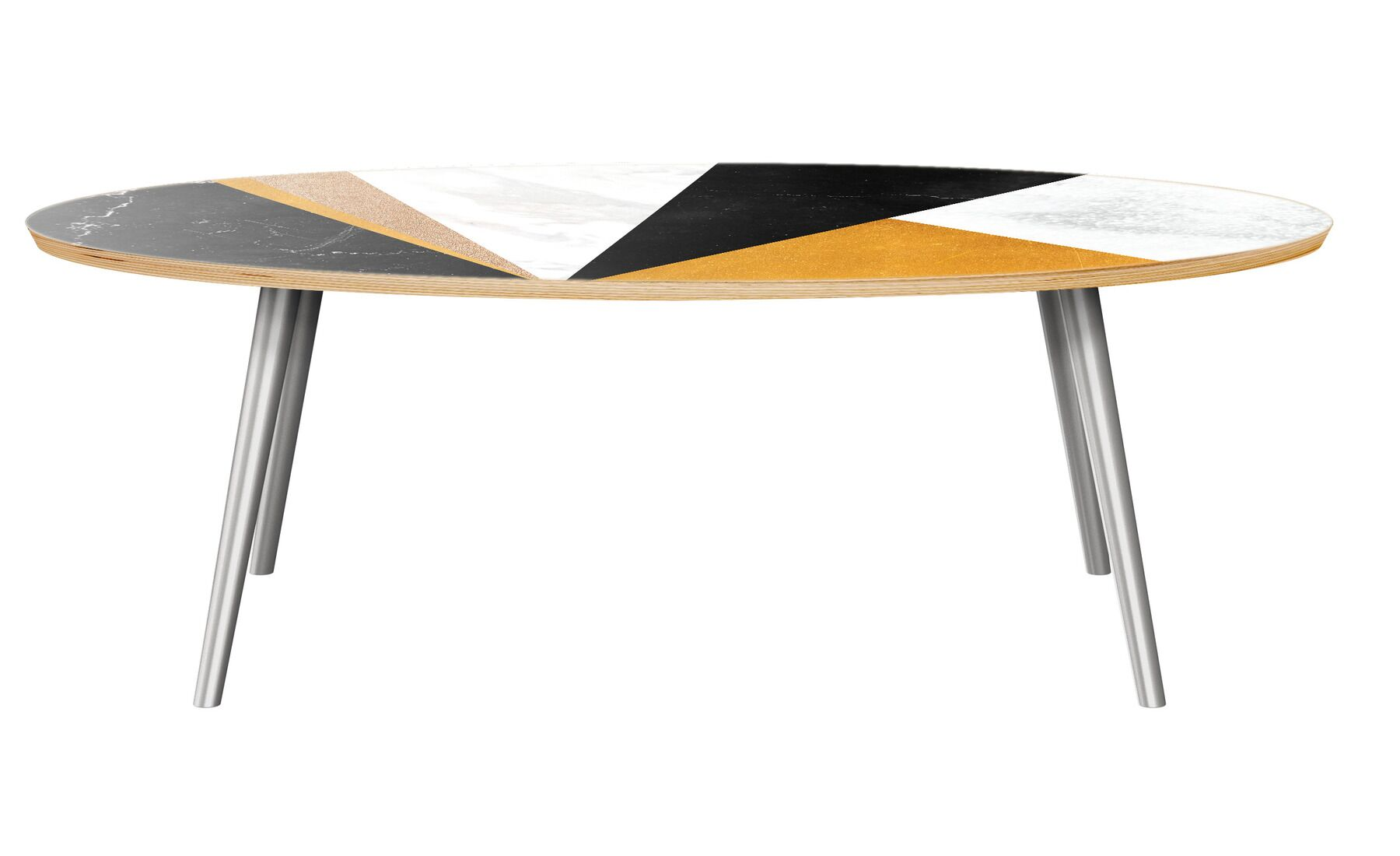 Guthridge Coffee Table Table Top Color: Natural/Black, Table Base Color: Chrome