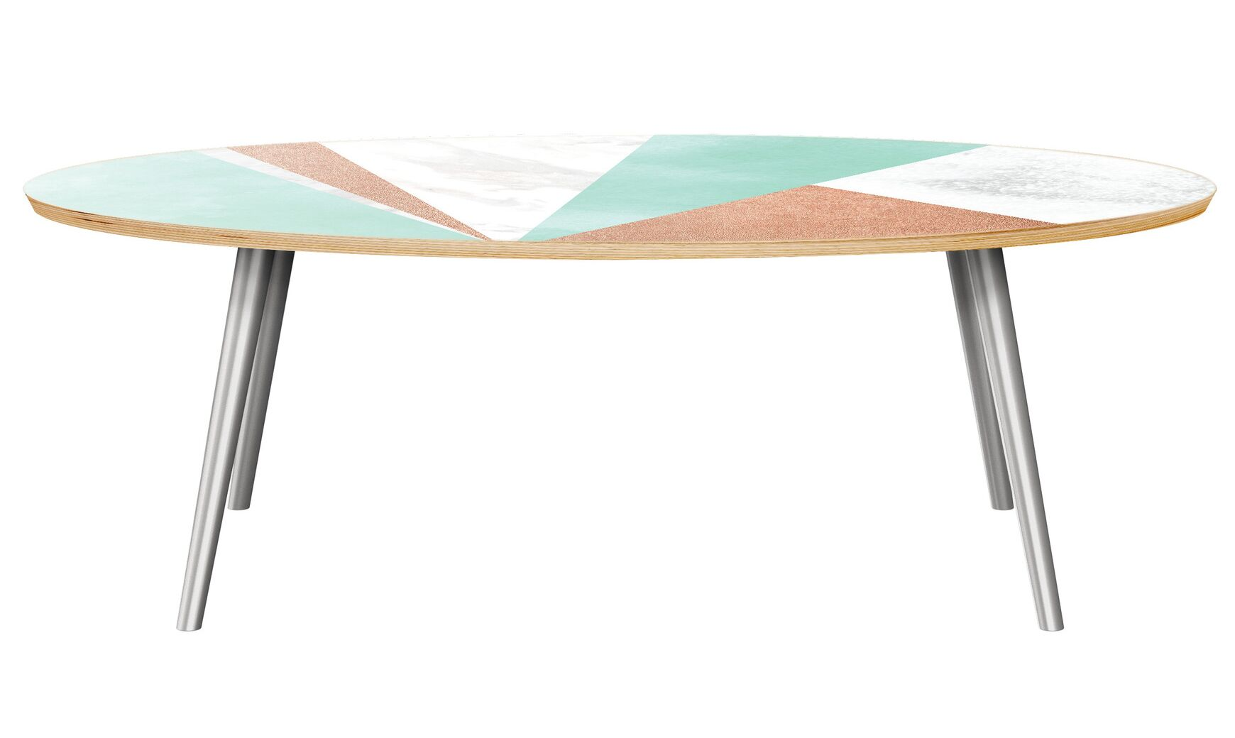 Guthridge Coffee Table Table Base Color: Chrome, Table Top Color: Natural/Green