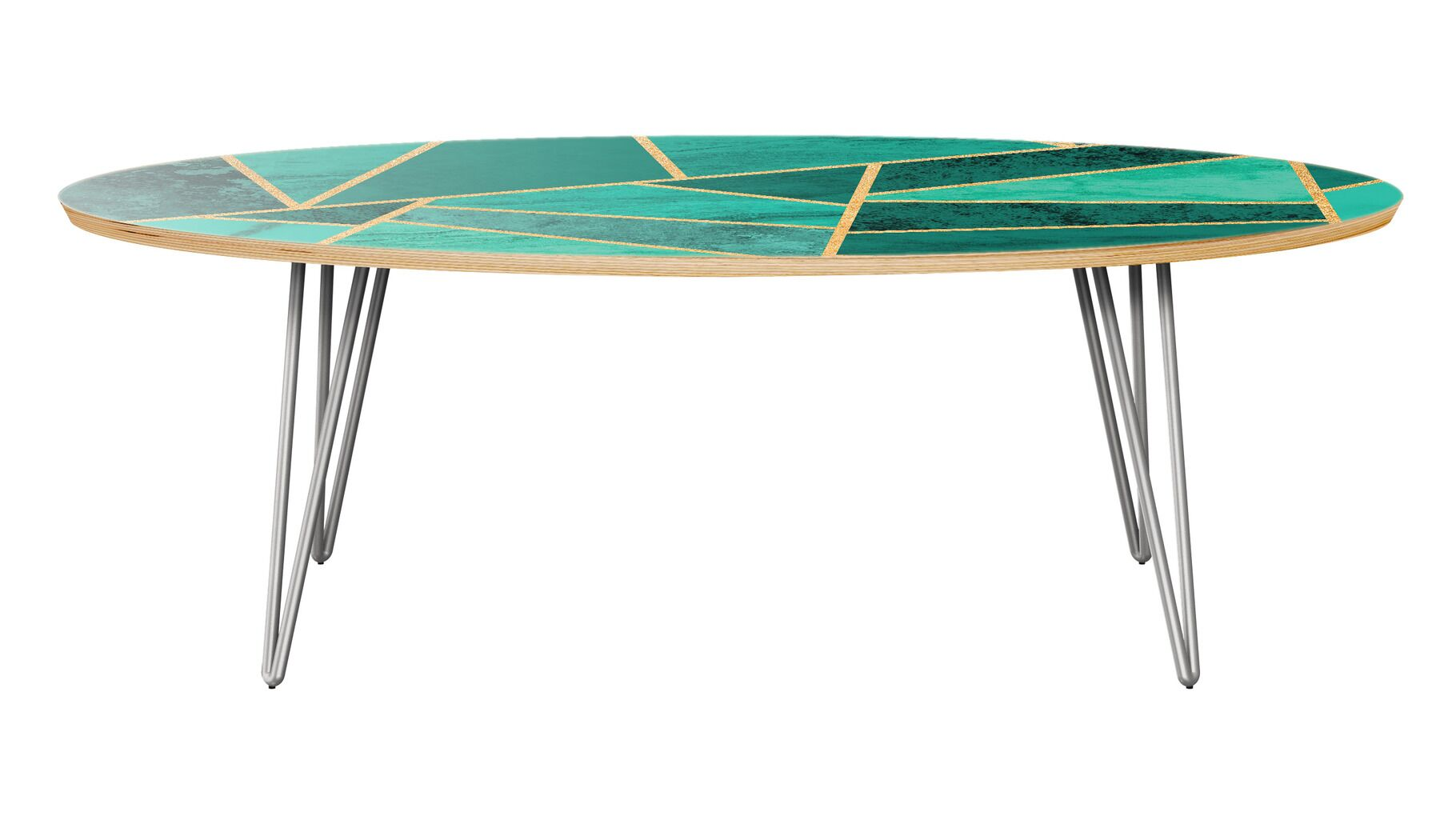 Mcgill Coffee Table Table Base Color: Chrome, Table Top Color: Natural/Green