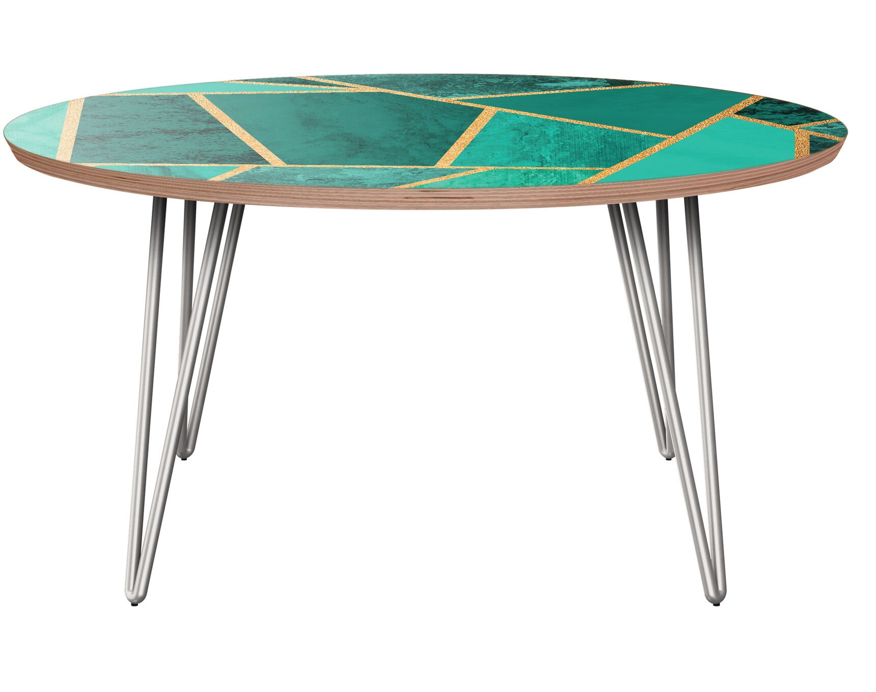 Mcglothin Coffee Table Table Base Color: Chrome, Table Top Color: Walnut/Green