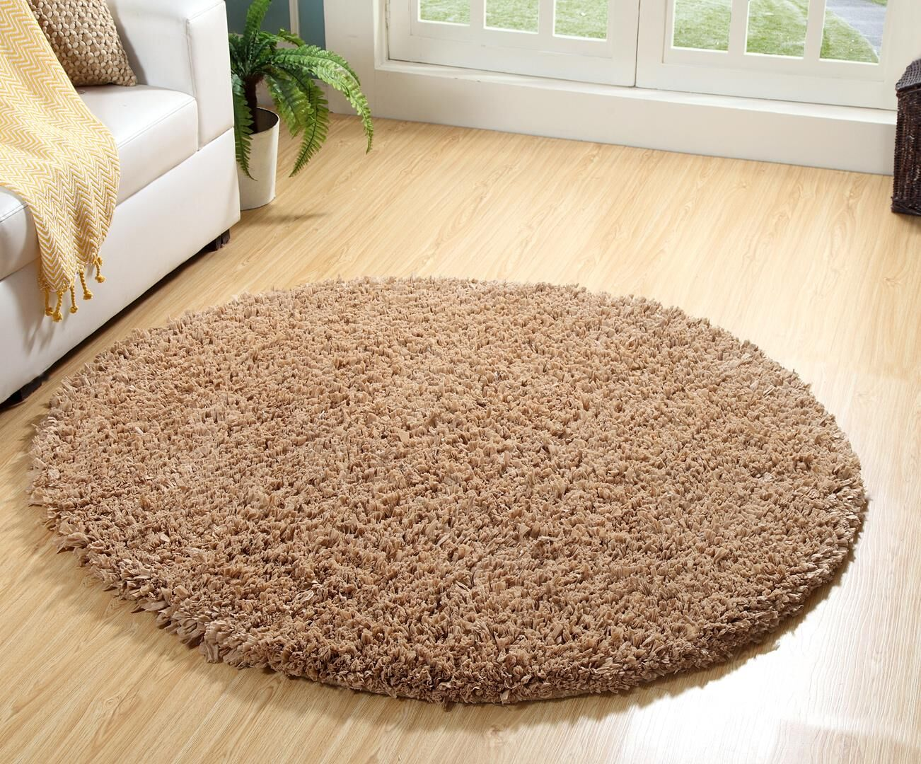 One-of-a-Kind Goodpaster Papershag Hand Woven Beige Are Rug Rug Size: Round 3'