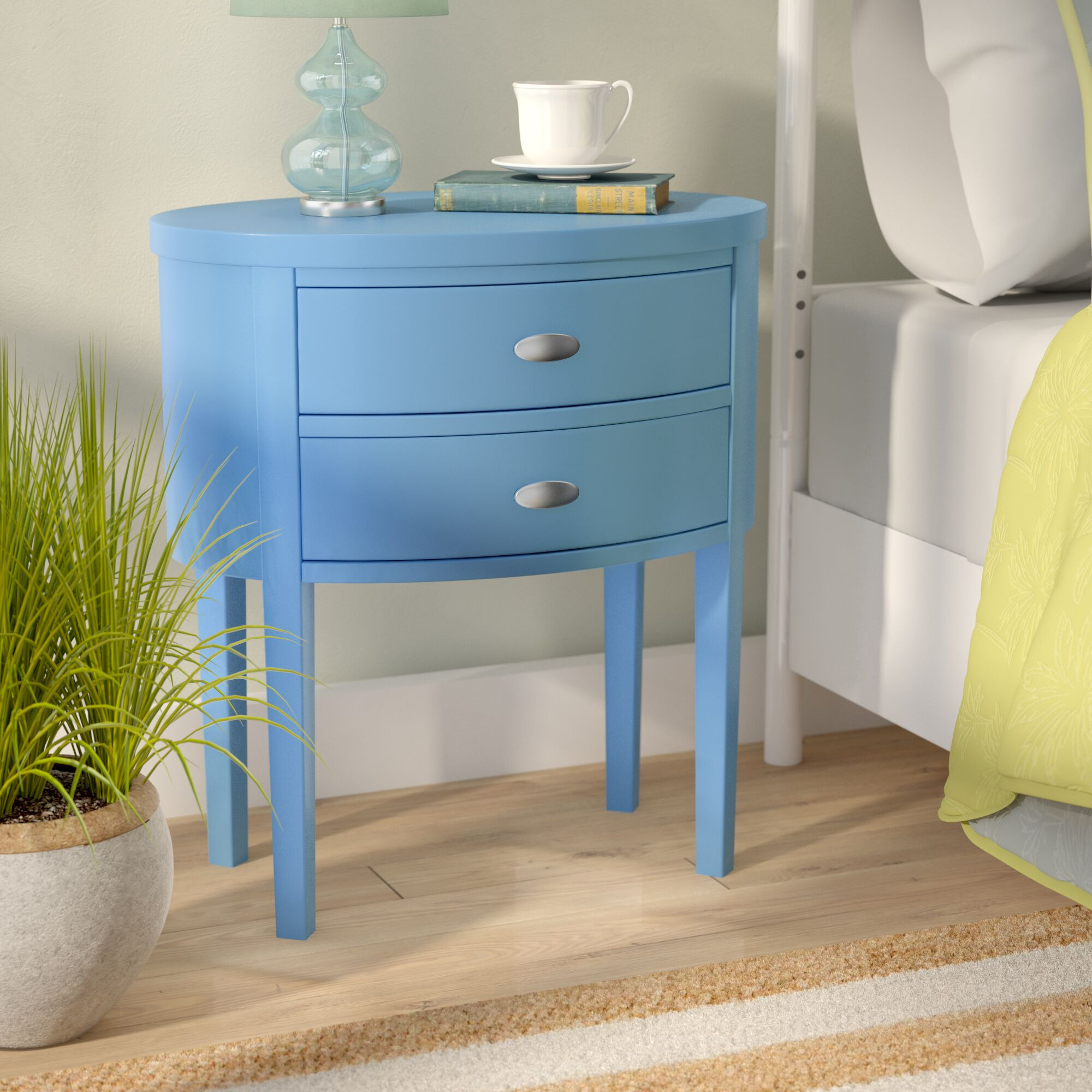 Rossiter 2 Drawer Nightstand Color: Blue