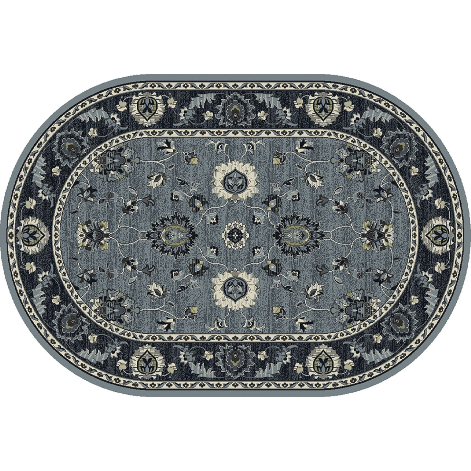 Renick Simply Open Medium Blue Area Rug Rug Size: Oval 5'3