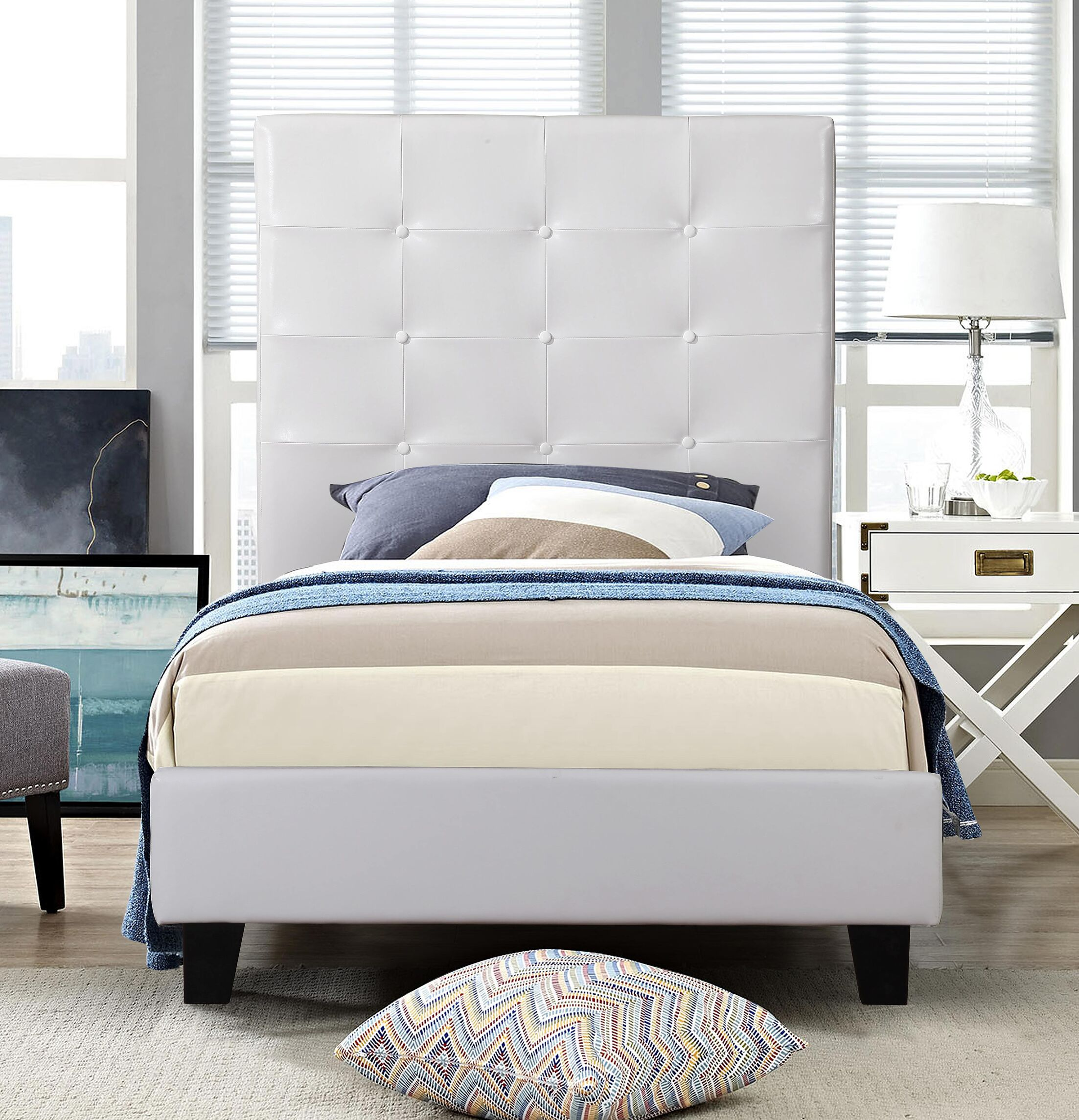 Theisen Upholstered Platform�Bed Size: Twin, Color: White