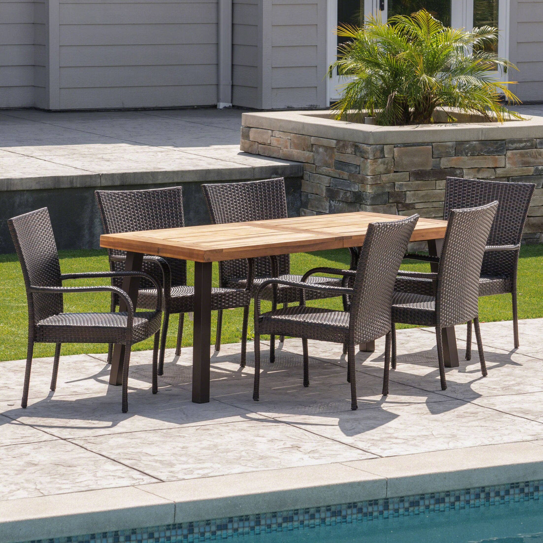 Henthorn Outdoor Acacia Wood/Wicker 7 Piece Dining Set