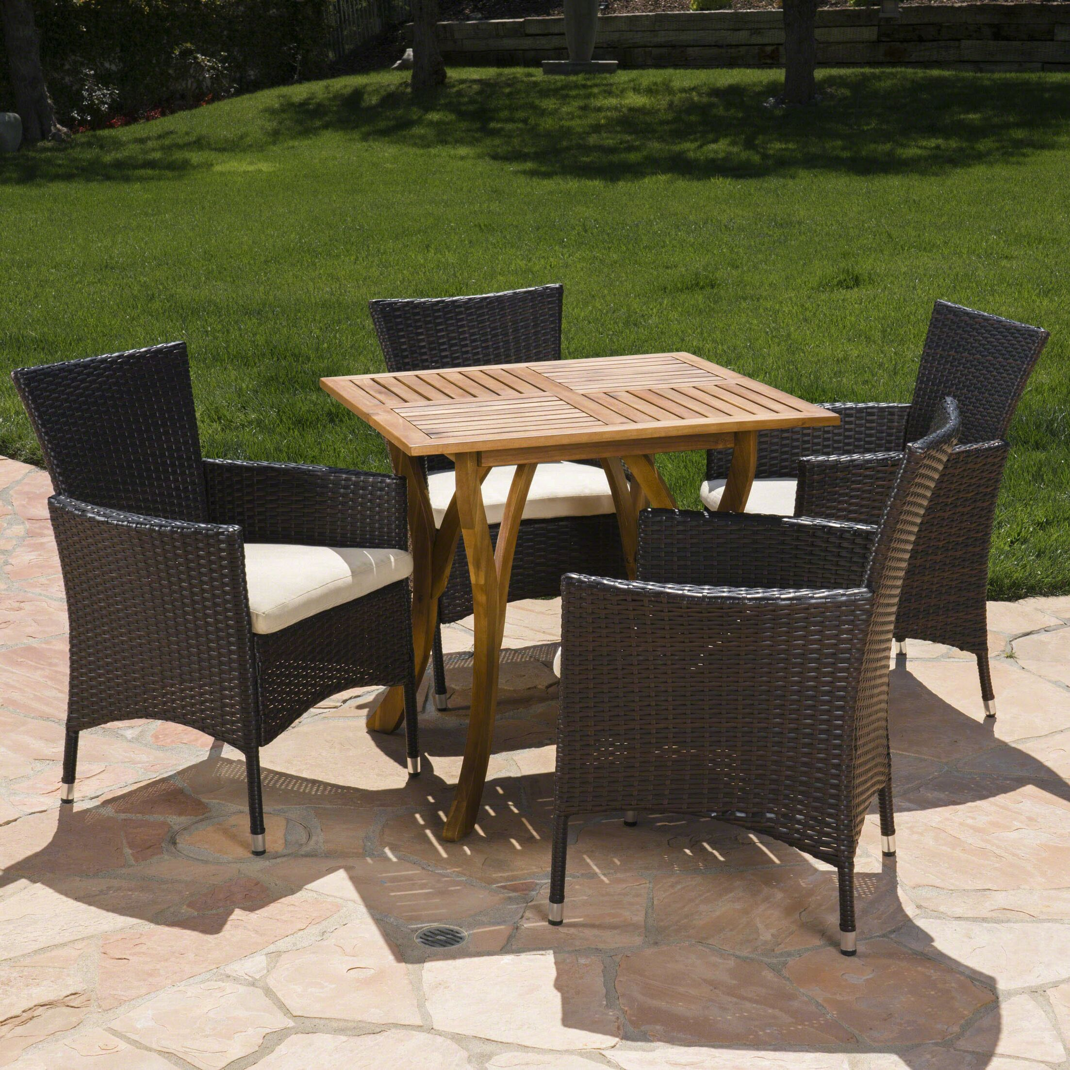 Meriam Outdoor Acacia Wood/Wicker 5 Piece Dining Set with Cushions