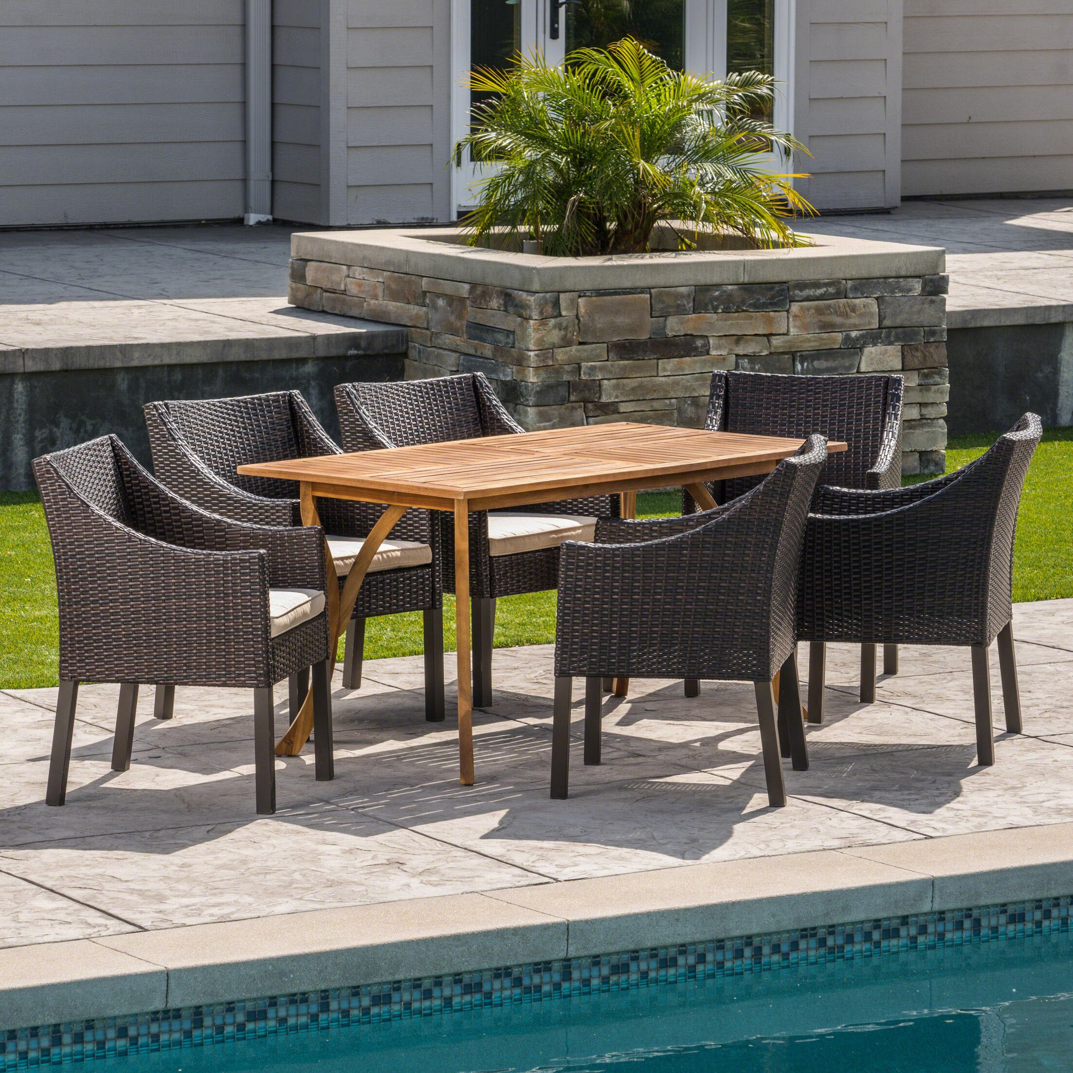 Hensel Outdoor Acacia Wood/Wicker 7 Piece Dining Set with Cushions