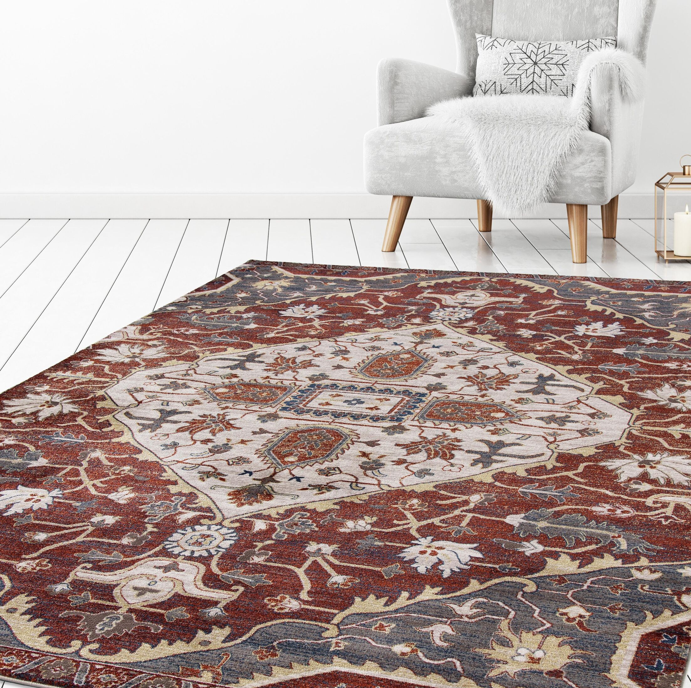 Olympus Medallion Red Area Rug Rug Size: Rectangle 5'3