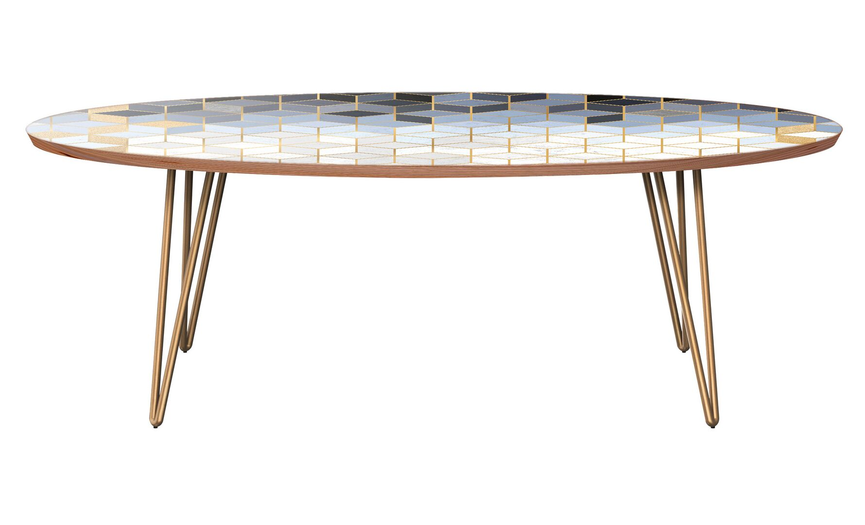 Twigg Coffee Table Table Base Color: Brass, Table Top Color: Walnut
