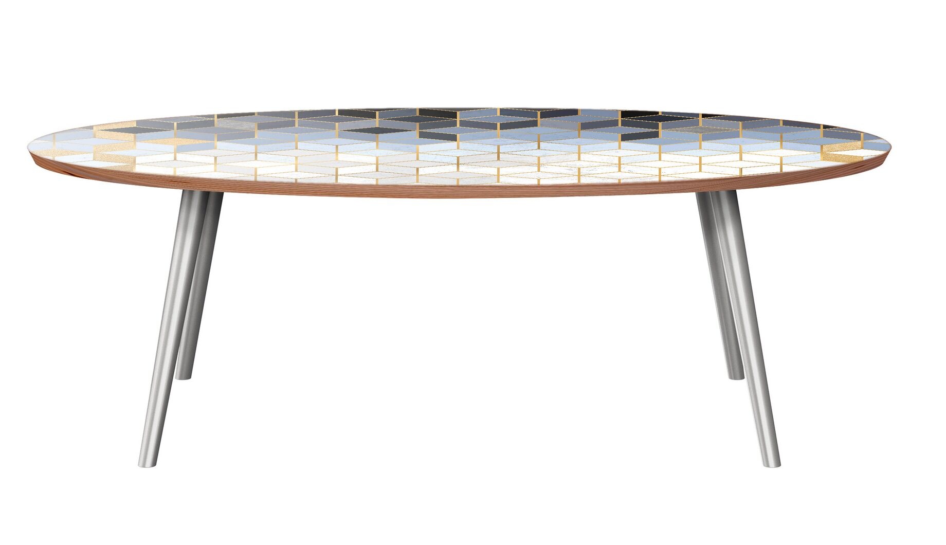 Grabill Coffee Table Table Base Color: Chrome, Table Top Color: Walnut
