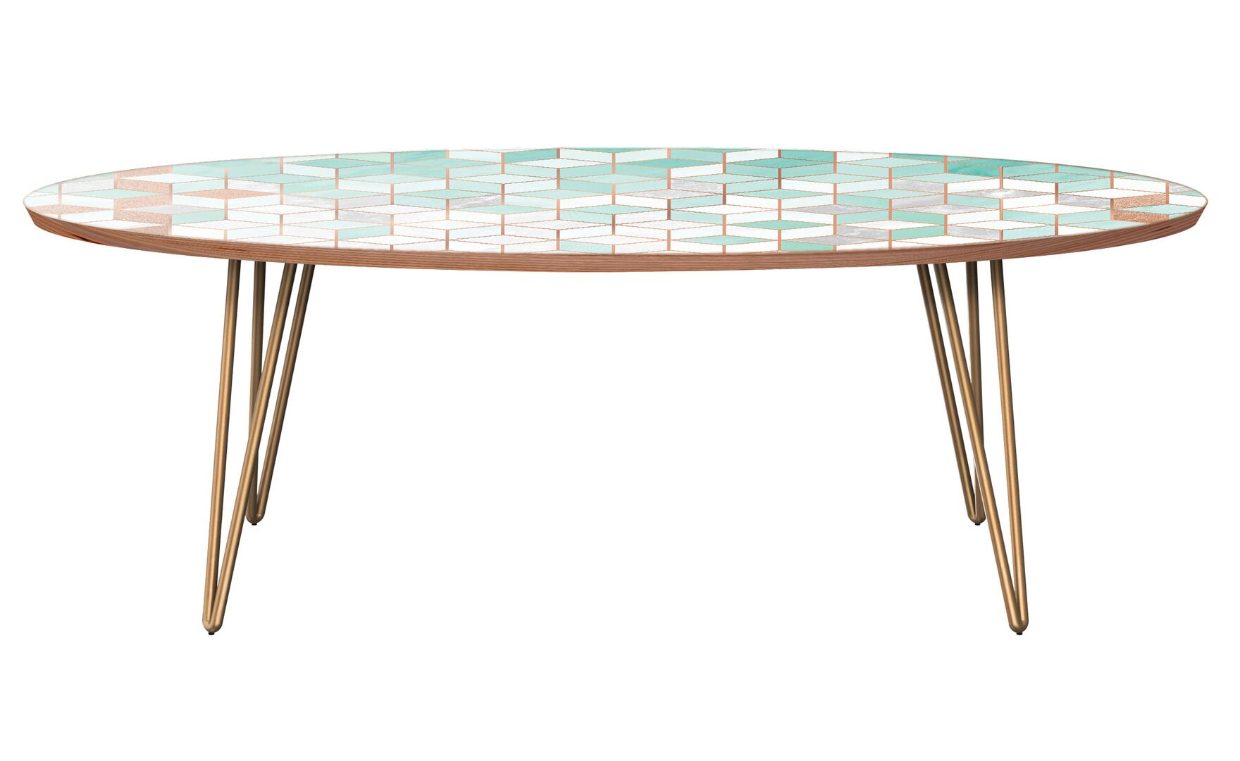 Grabowski Coffee Table Table Base Color: Brass, Table Top Color: Walnut