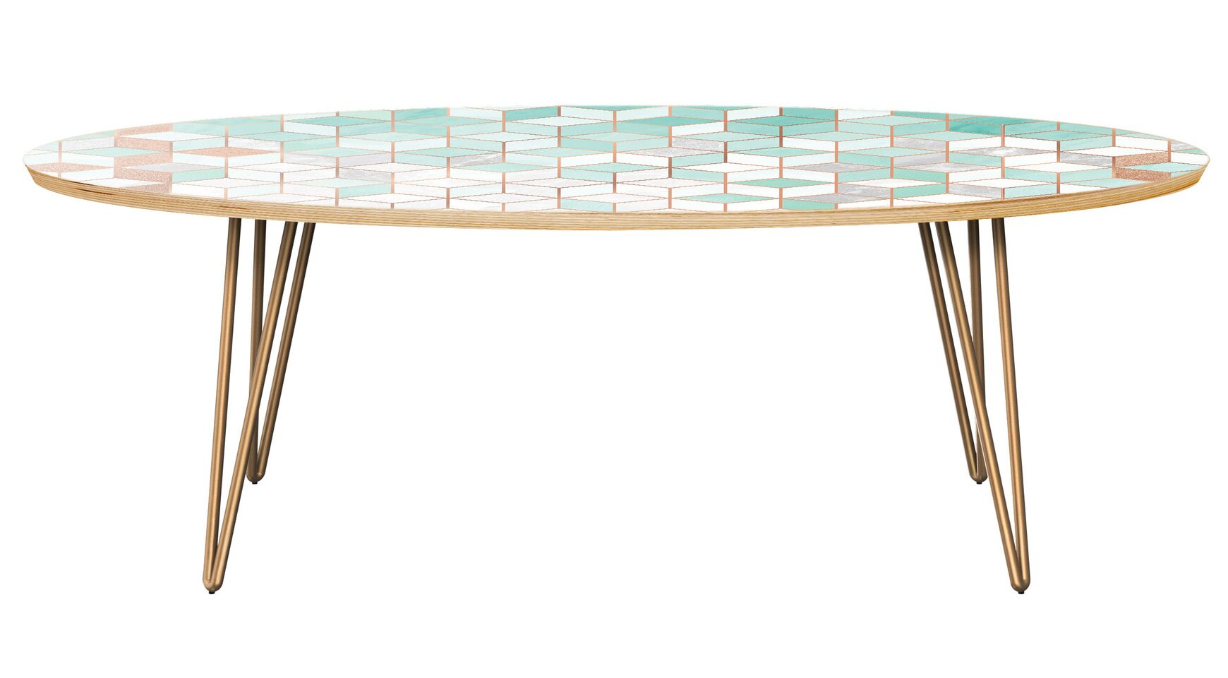 Grabowski Coffee Table Table Top Color: Natural, Table Base Color: Brass
