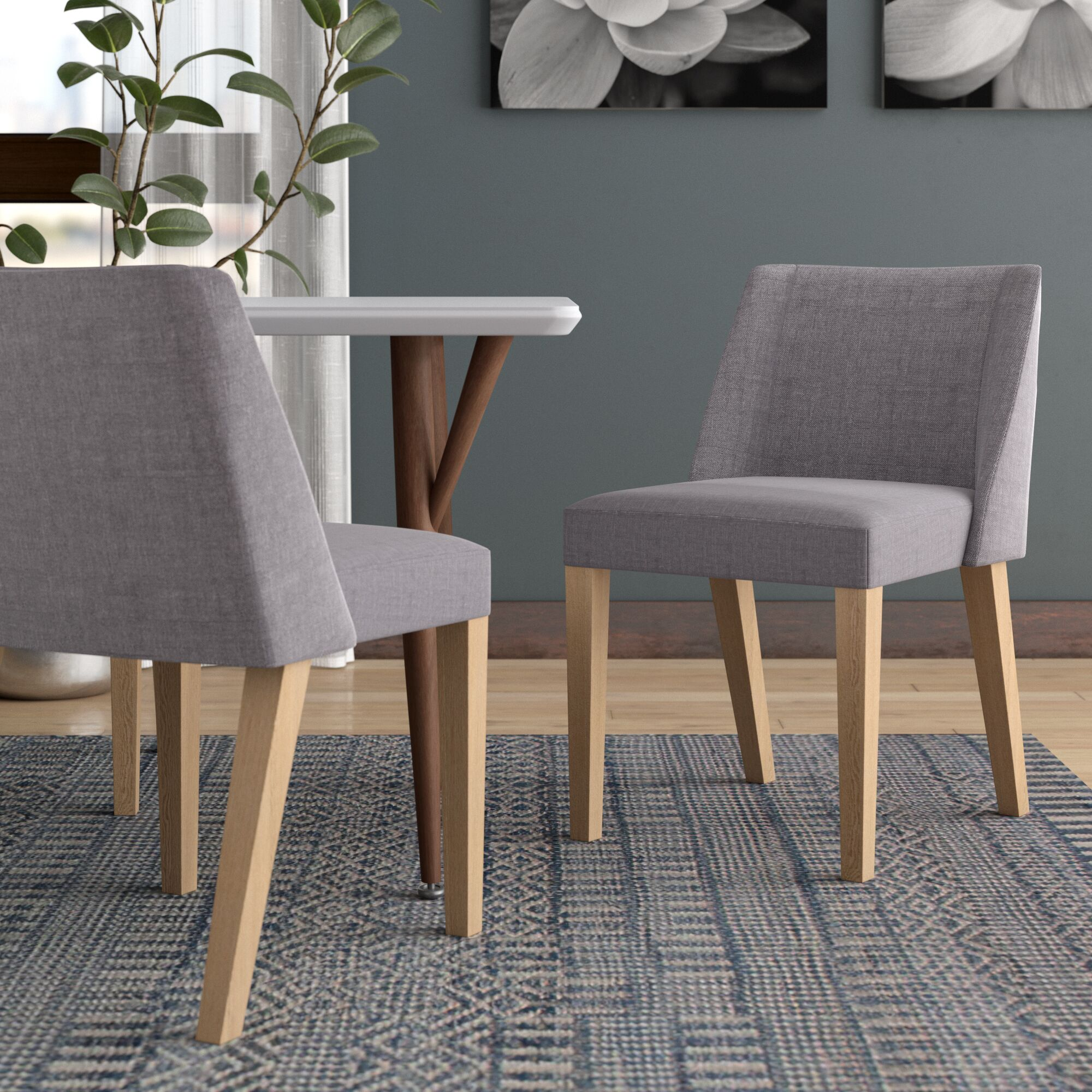 Heron Fabric Side Chair Upholstery: Charcoal