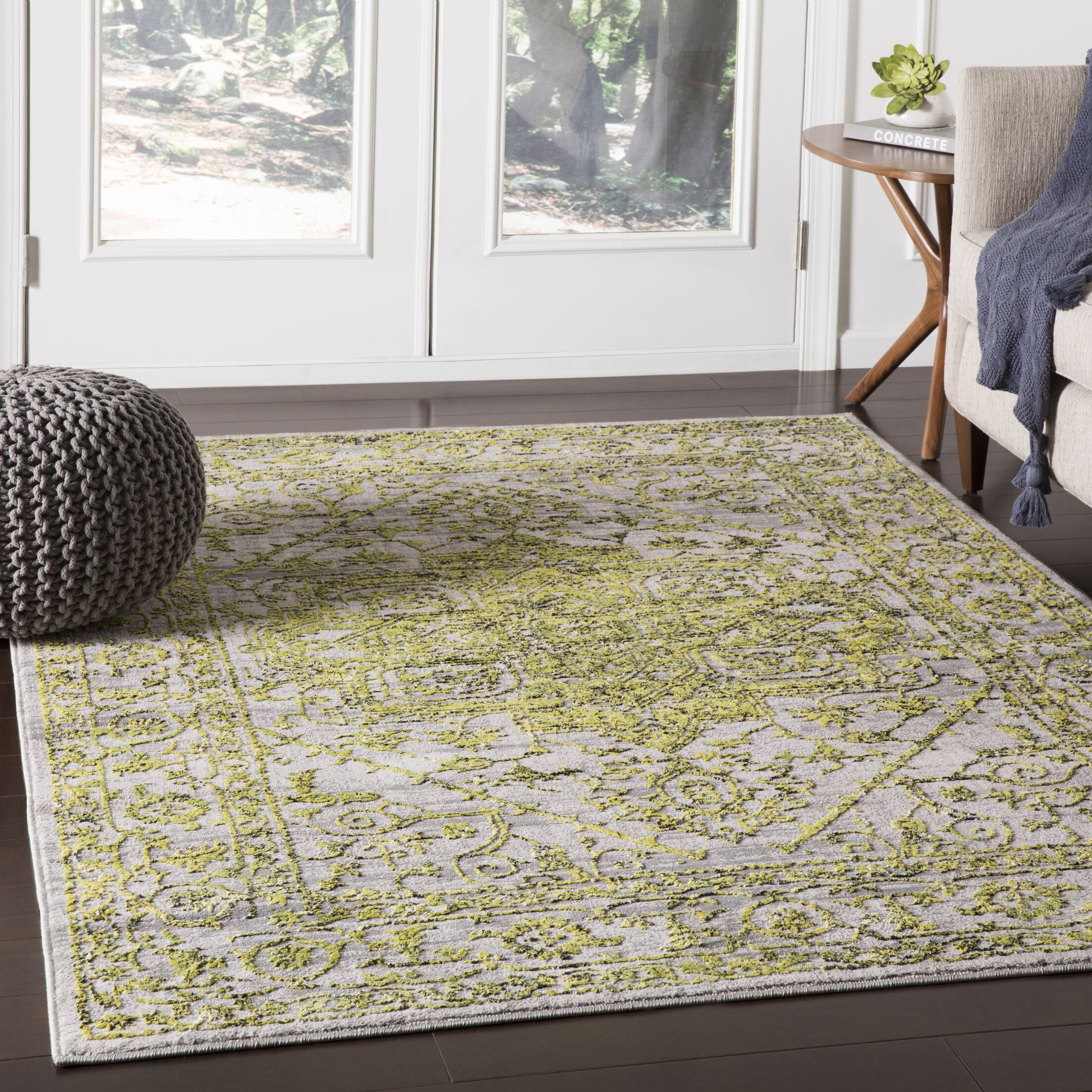 Parramore Oriental Yellow/Green Area Rug Rug Size: Rectangle 9'3