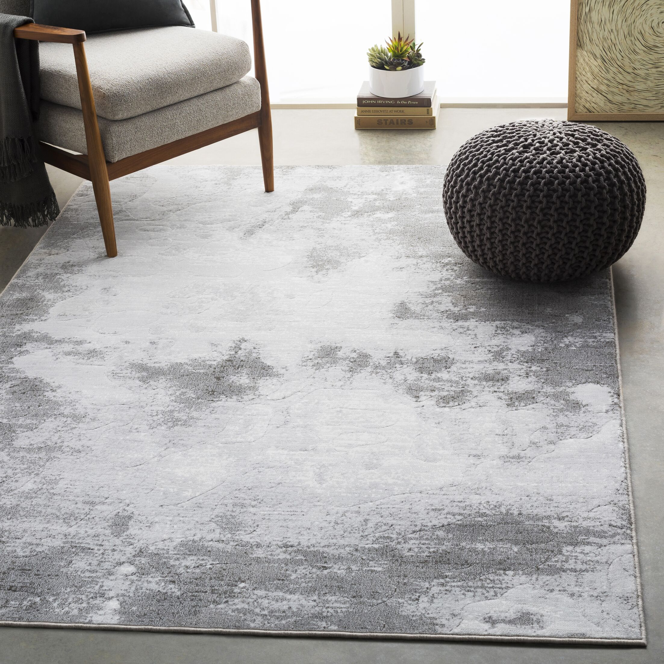 Shenk Abstract Light Gray/White Area Rug Rug Size: Rectangle 7'10