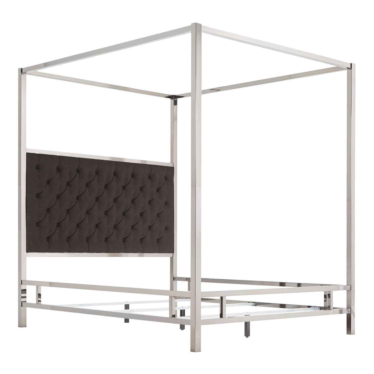 Wicklund Upholstered Canopy Bed Color (Frame/Headboard): Chrome Metal/Dark Gray, Size: Queen