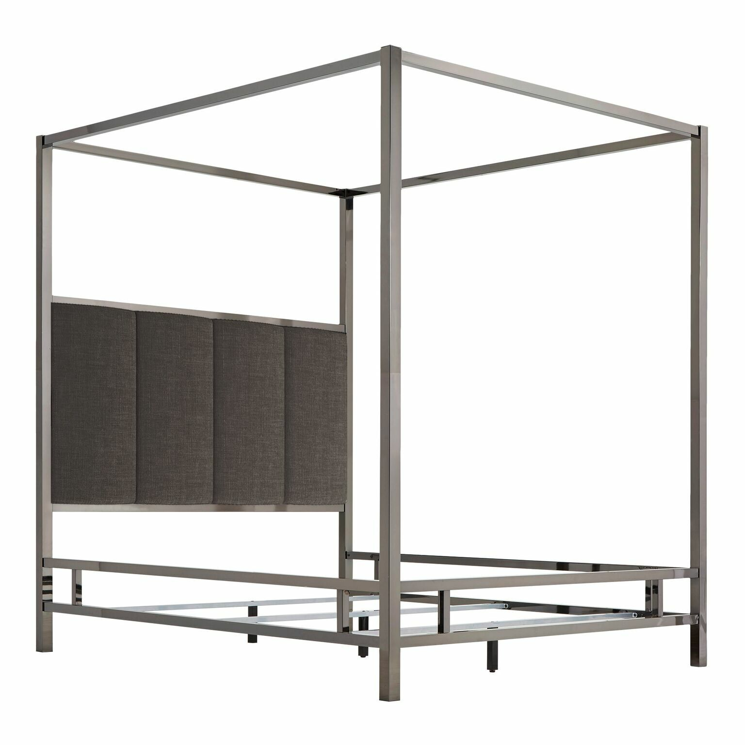 Wicklund Upholstered Canopy Bed Color (Frame/Headboard): Black Nickel/Dark Gray, Size: Queen
