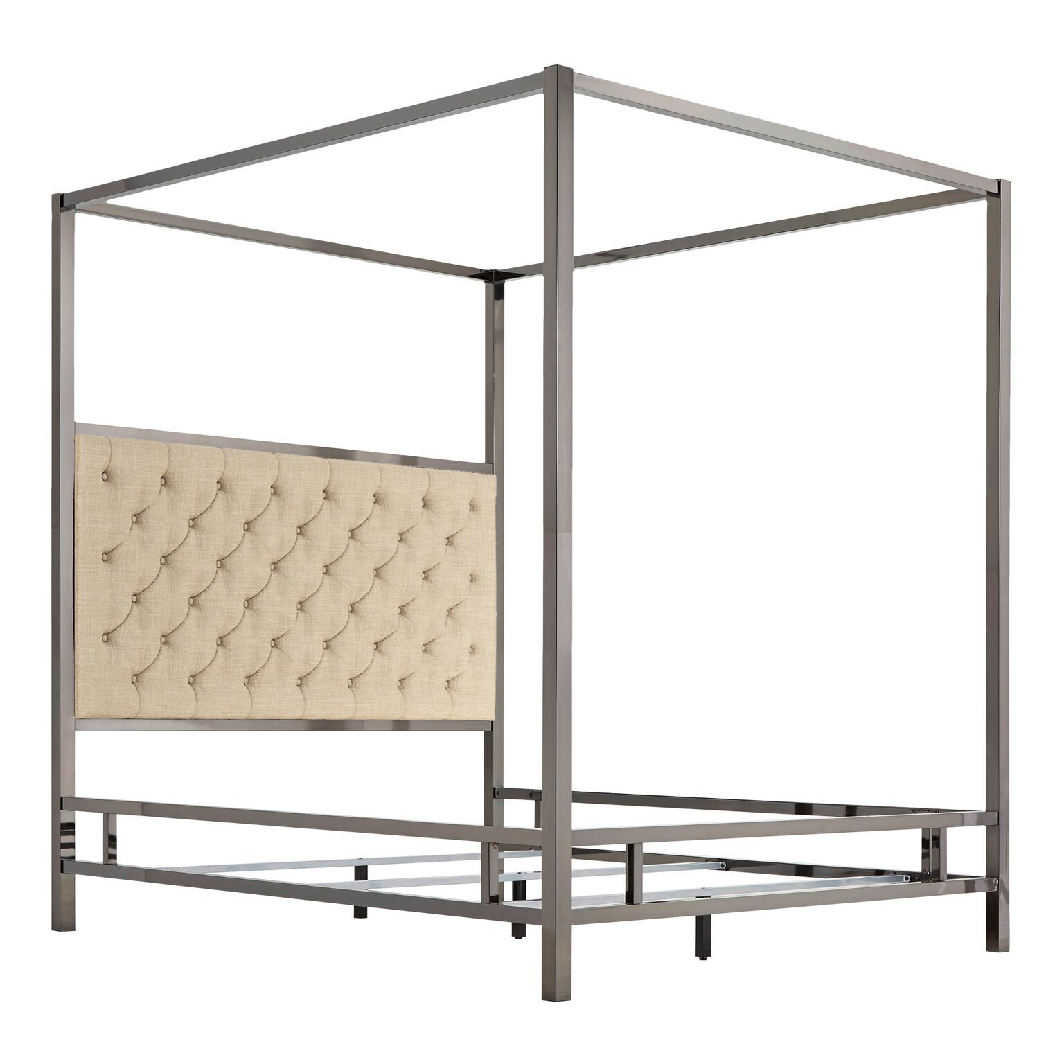 Wicklund Upholstered Canopy Bed Color (Frame/Headboard): Black Nickel/Beige, Size: King