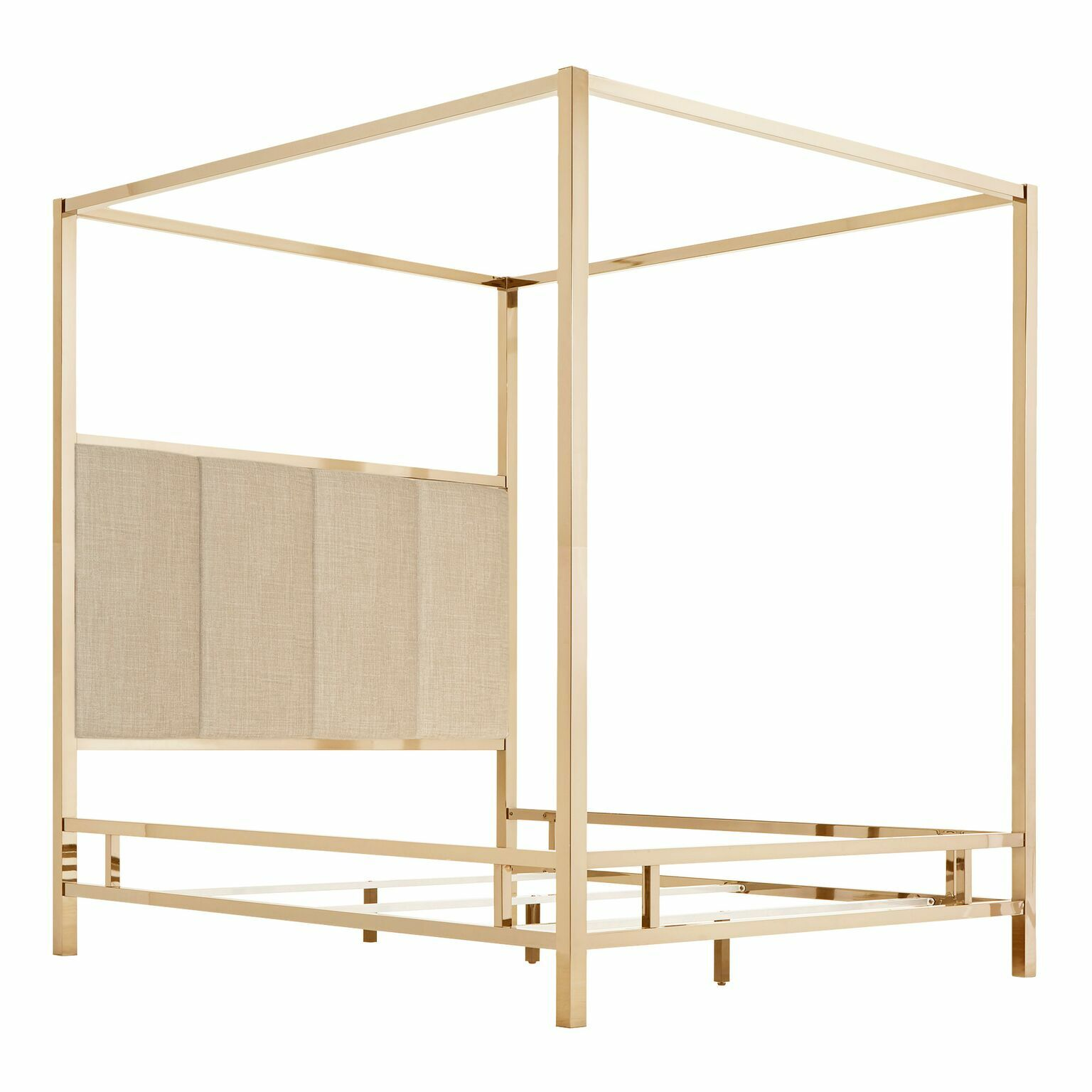 Wicklund Upholstered Canopy Bed Color (Frame/Headboard): Champagne Gold/Beige, Size: Full