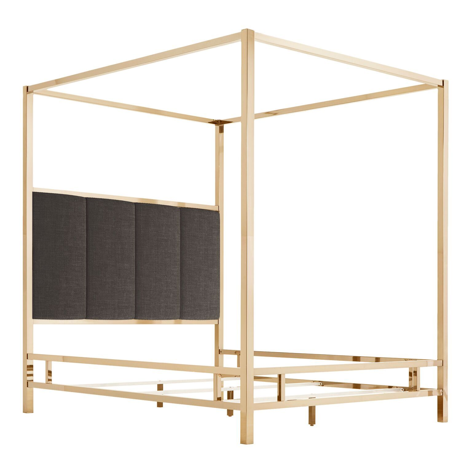 Wicklund Upholstered Canopy Bed Color (Frame/Headboard): Champagne Gold/Dark Gray, Size: Full