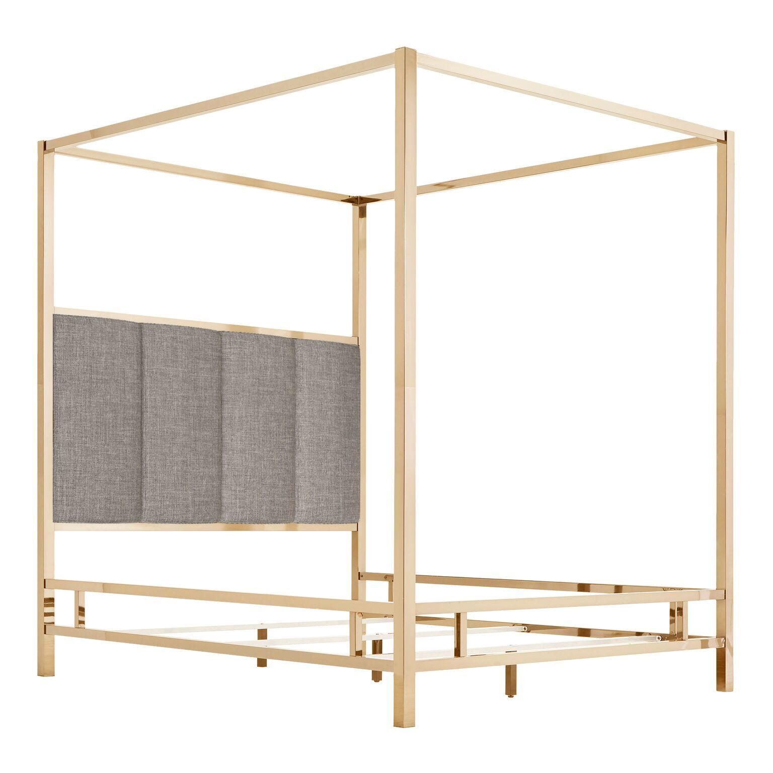 Wicklund Upholstered Canopy Bed Color (Frame/Headboard): Champagne Gold/Gray, Size: King