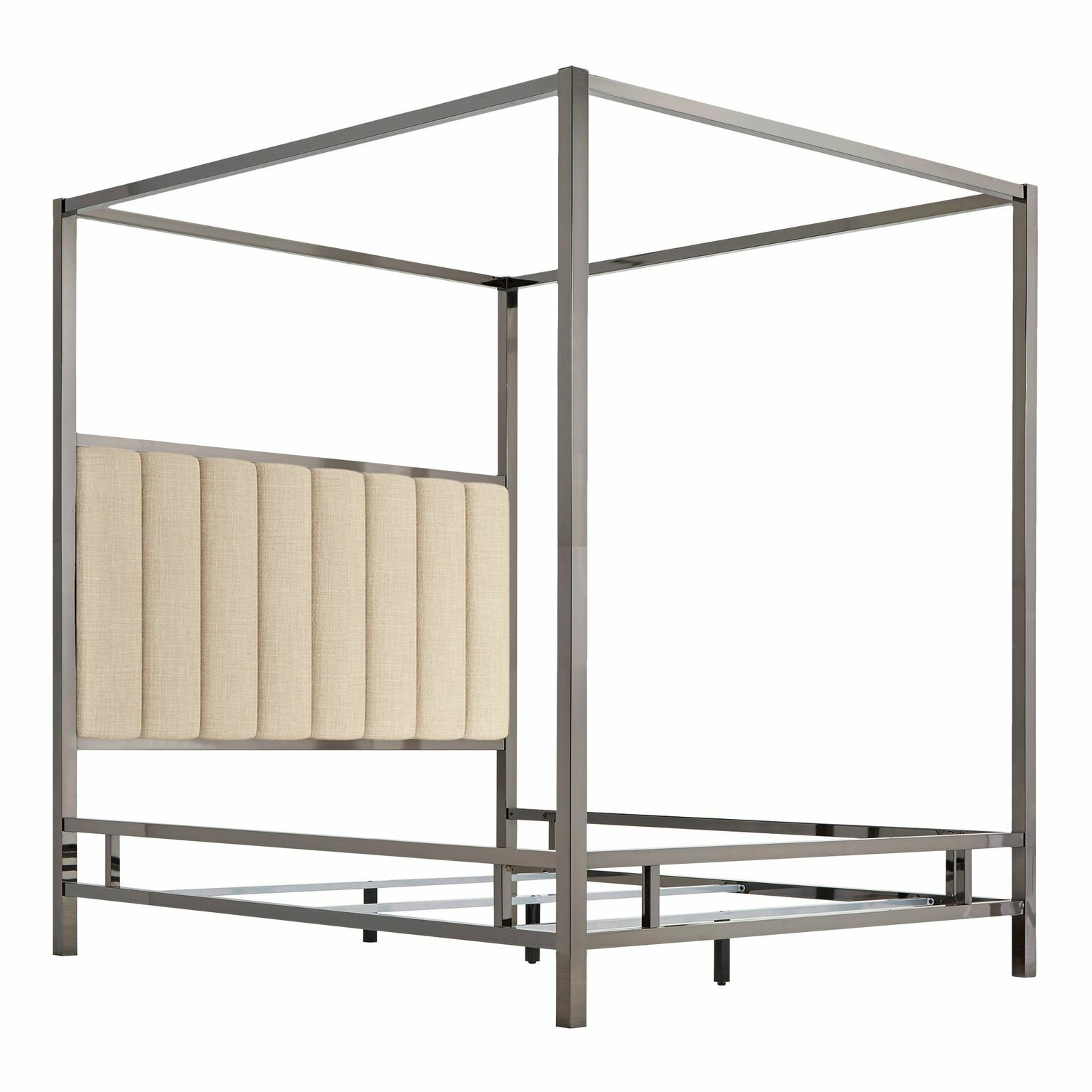 Wicklund Upholstered Canopy Bed Color (Frame/Headboard): Black Nickel/Beige, Size: Queen