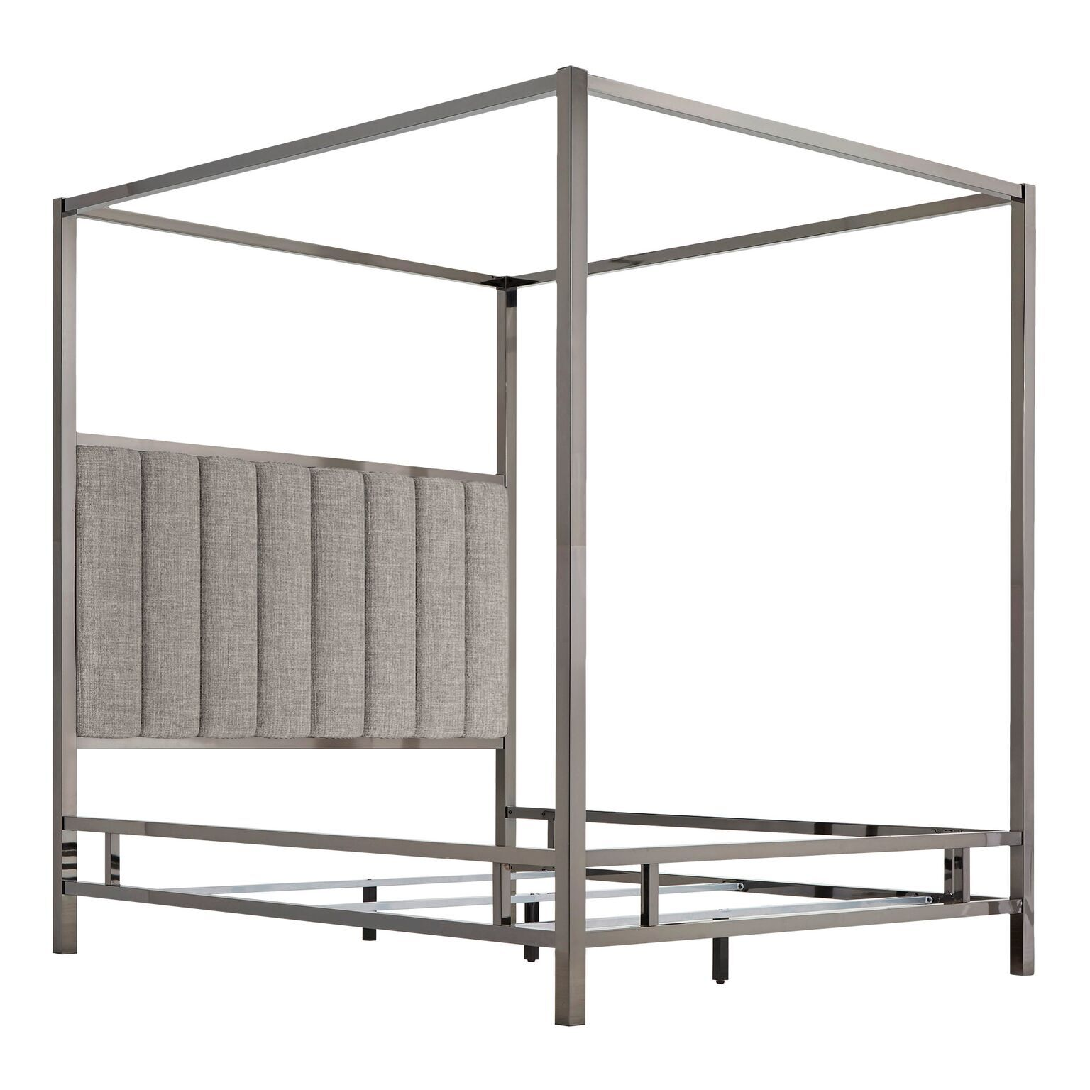 Wicklund Upholstered Canopy Bed Color (Frame/Headboard): Black Nickel/Gray, Size: King
