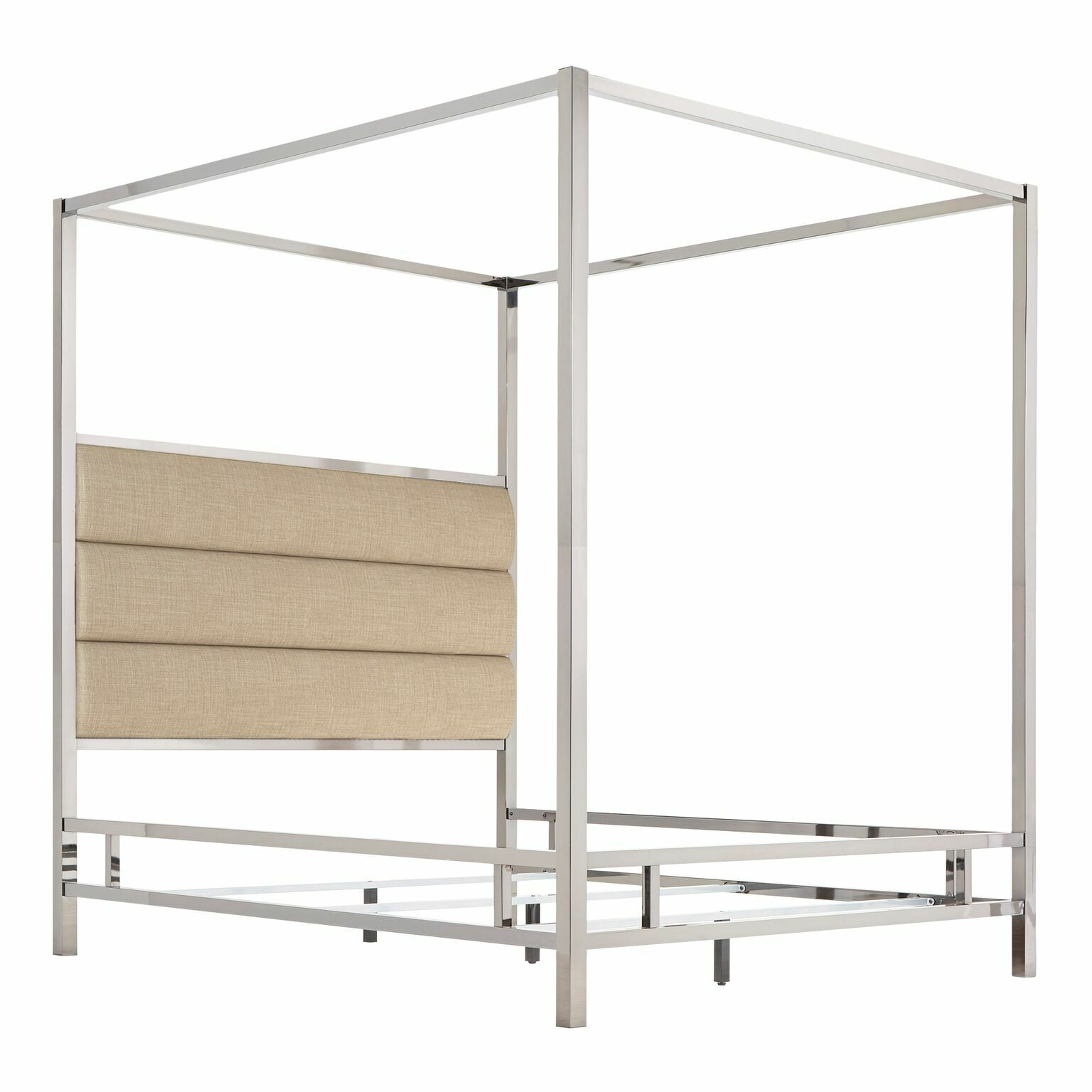 Wicklund Upholstered Canopy Bed Color (Frame/Headboard): Chrome Metal/Beige, Size: King