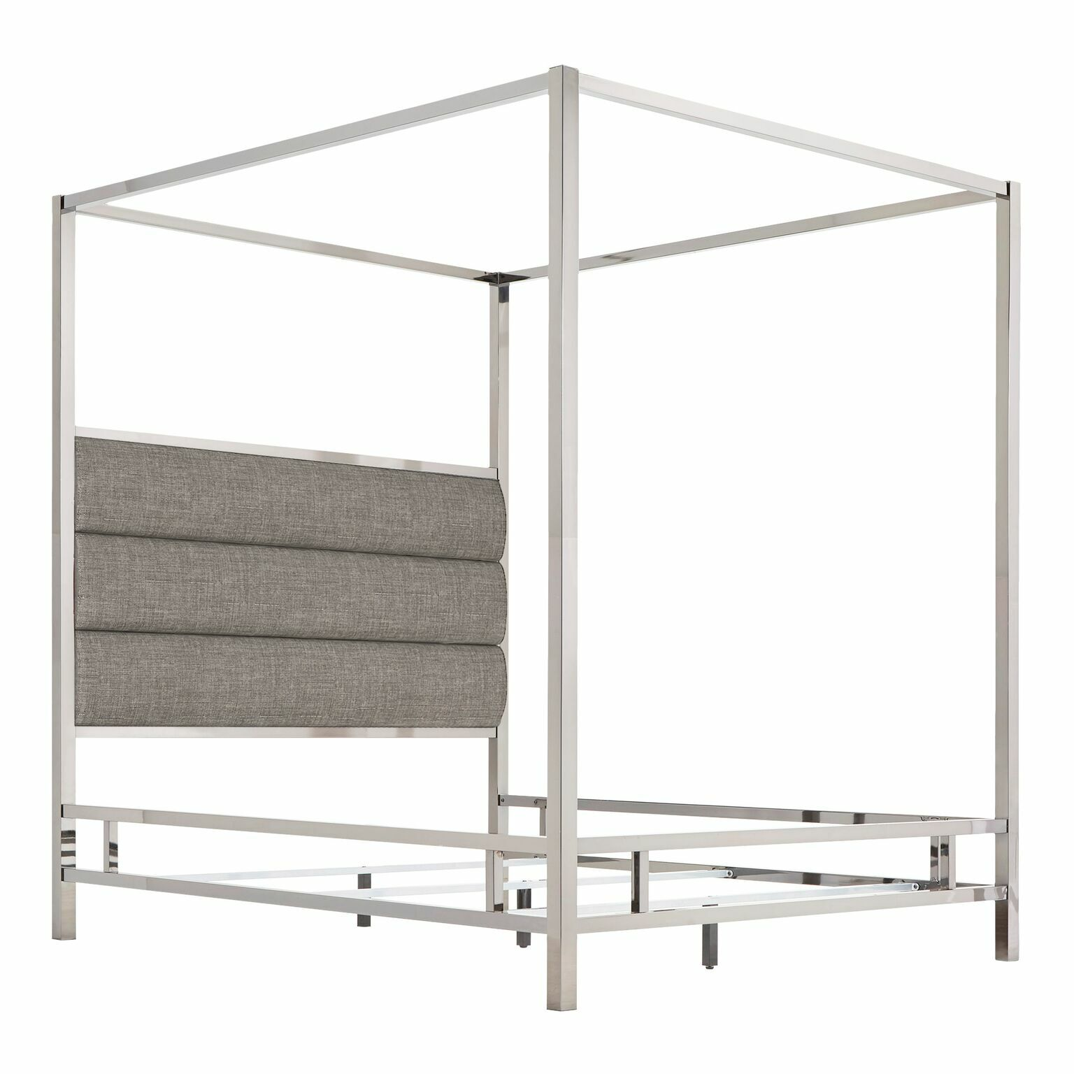 Wicklund Upholstered Canopy Bed Color (Frame/Headboard): Chrome Metal/Gray, Size: Queen
