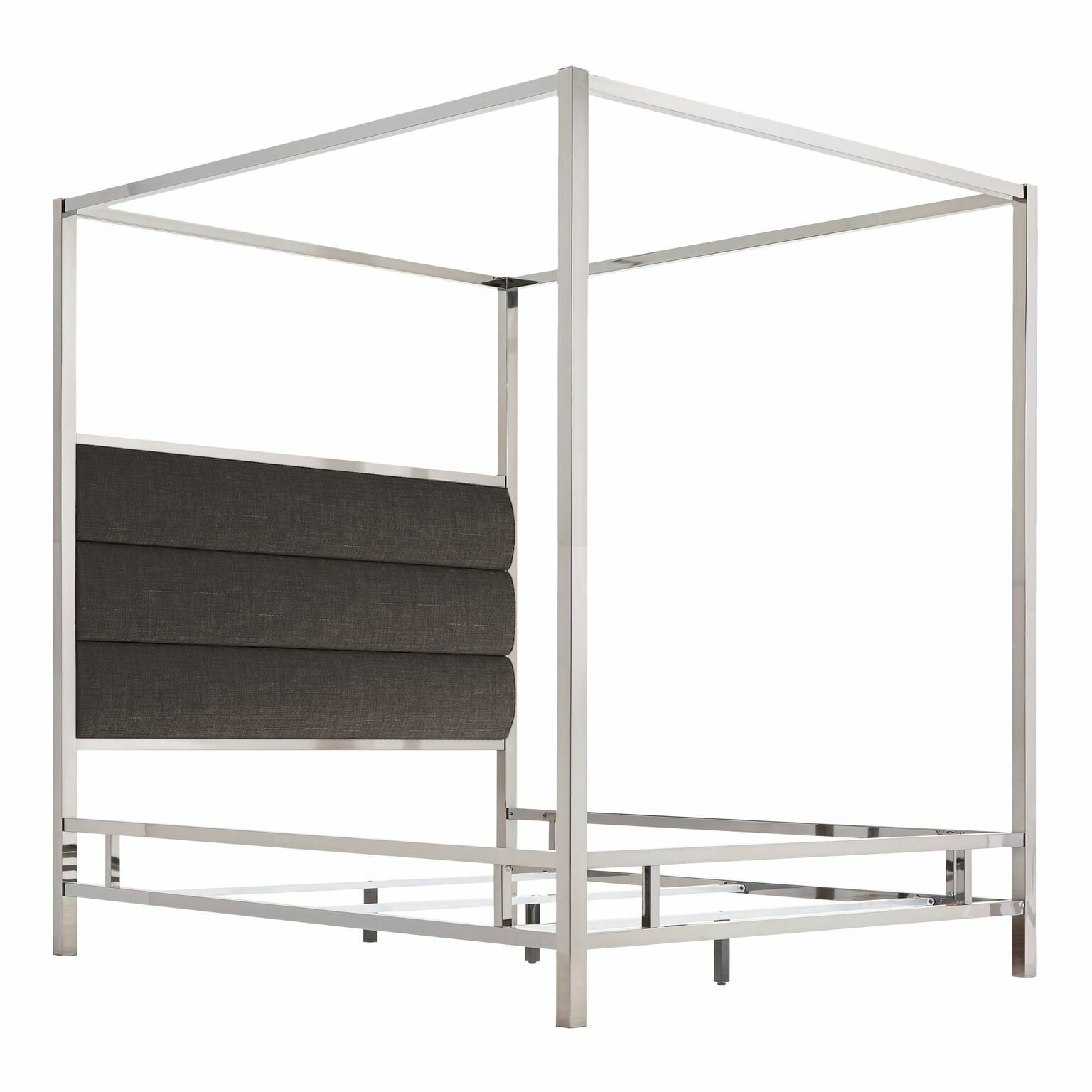 Wicklund Upholstered Canopy Bed Color (Frame/Headboard): Chrome Metal/Dark Gray, Size: Full