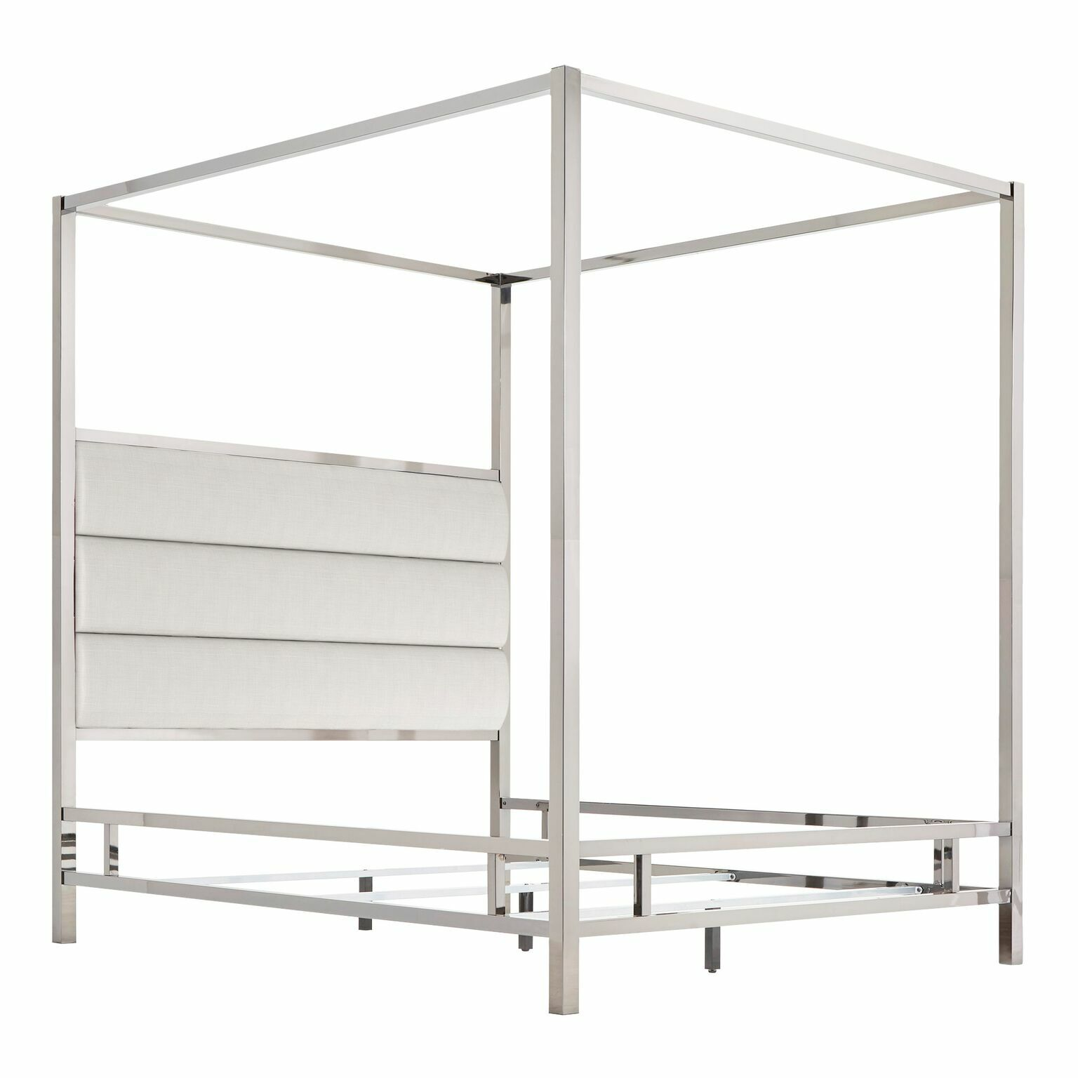 Wicklund Upholstered Canopy Bed Color (Frame/Headboard): Chrome Metal/White, Size: King