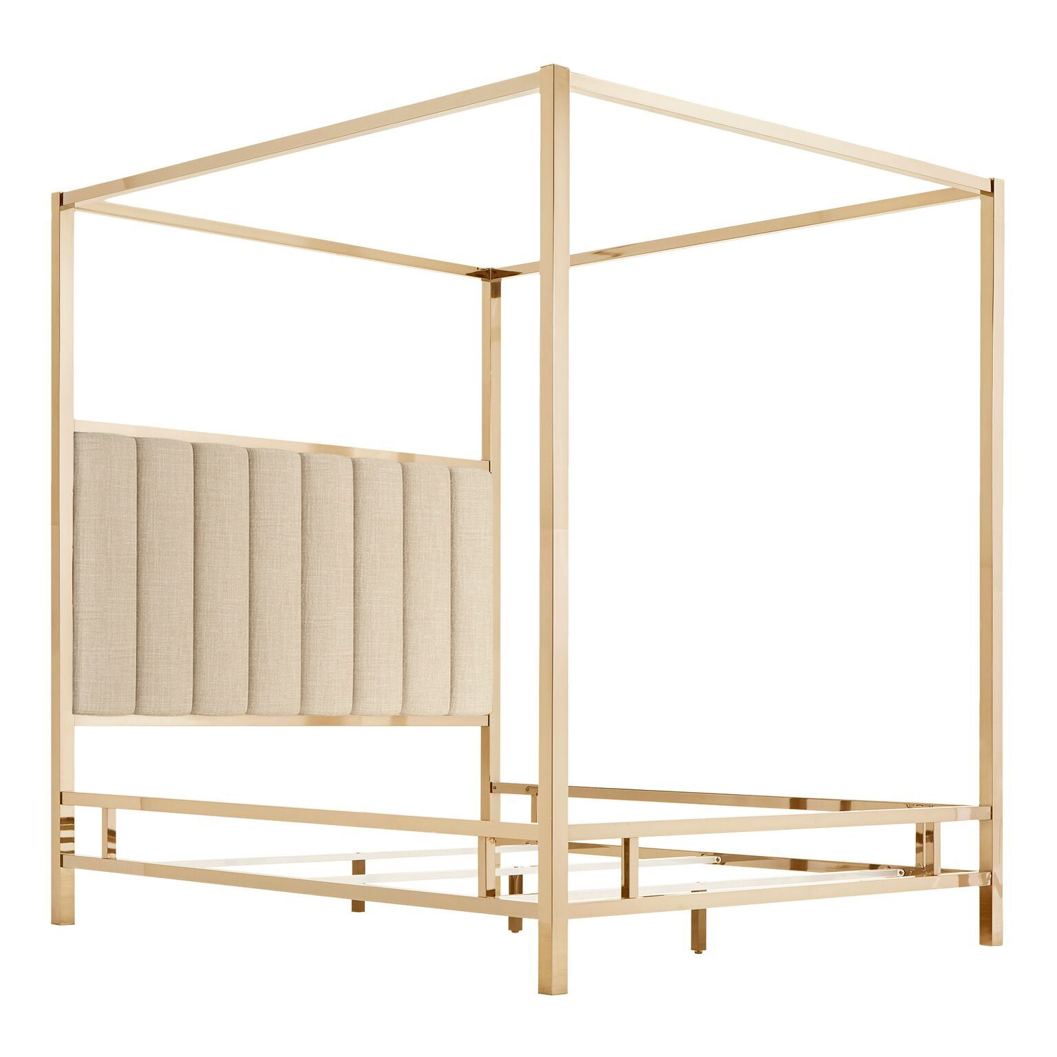 Wicklund Upholstered Canopy Bed Color (Frame/Headboard): Champagne Gold/Beige, Size: King