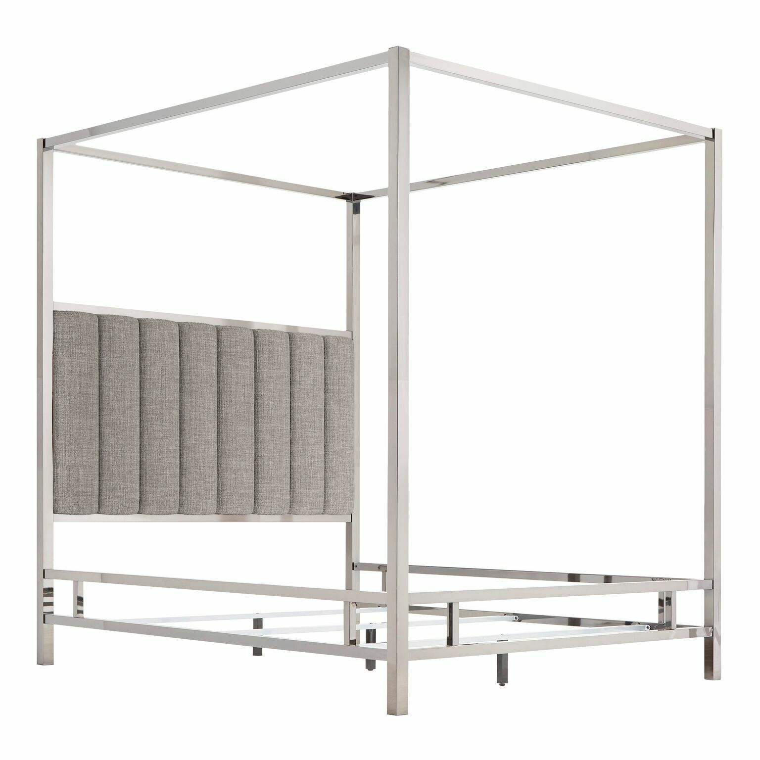 Wicklund Upholstered Canopy Bed Color (Frame/Headboard): Chrome Metal/Gray, Size: Full