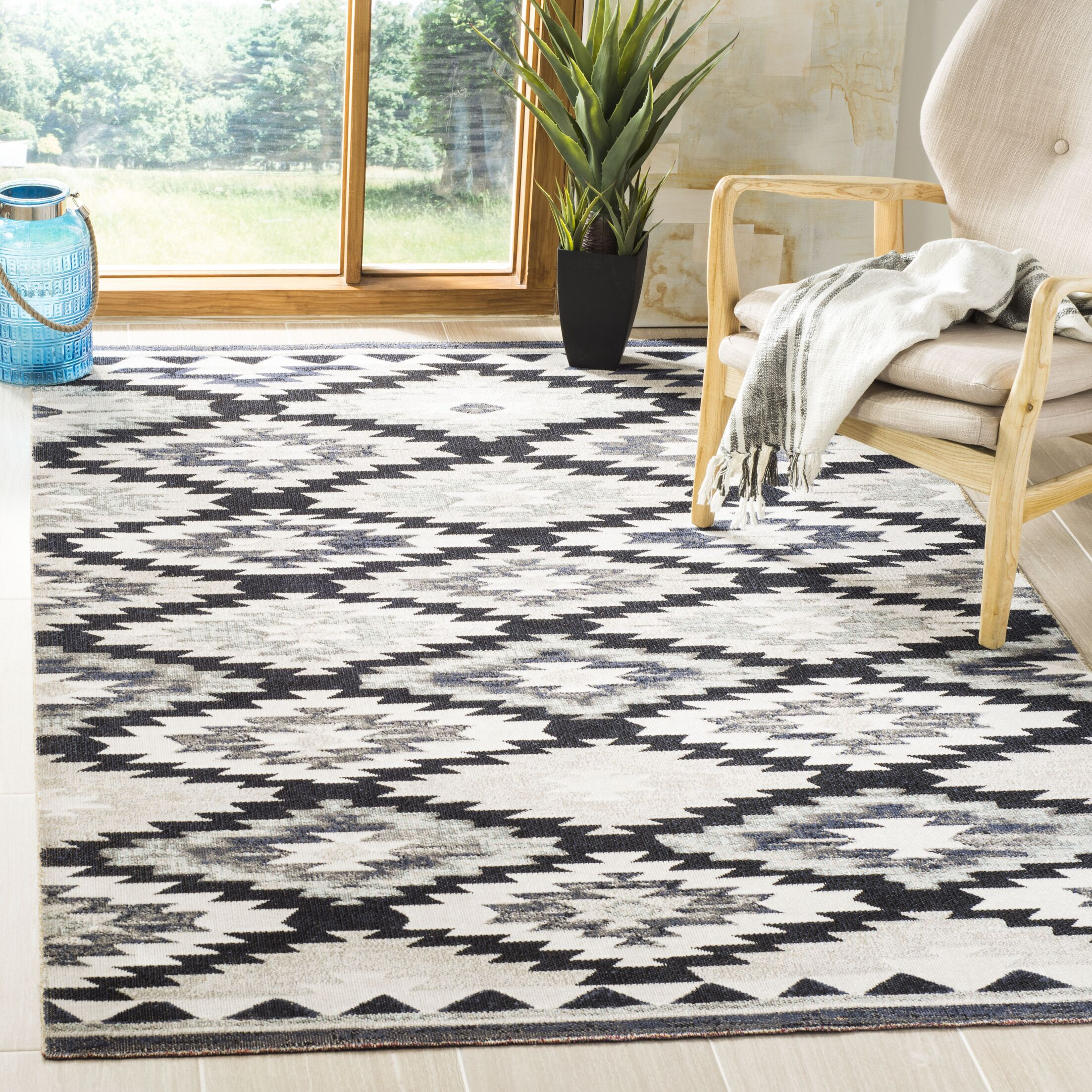 Griffeth Gray/Black Indoor/Outdoor Area Rug Rug Size: Rectangle 9' x 12'