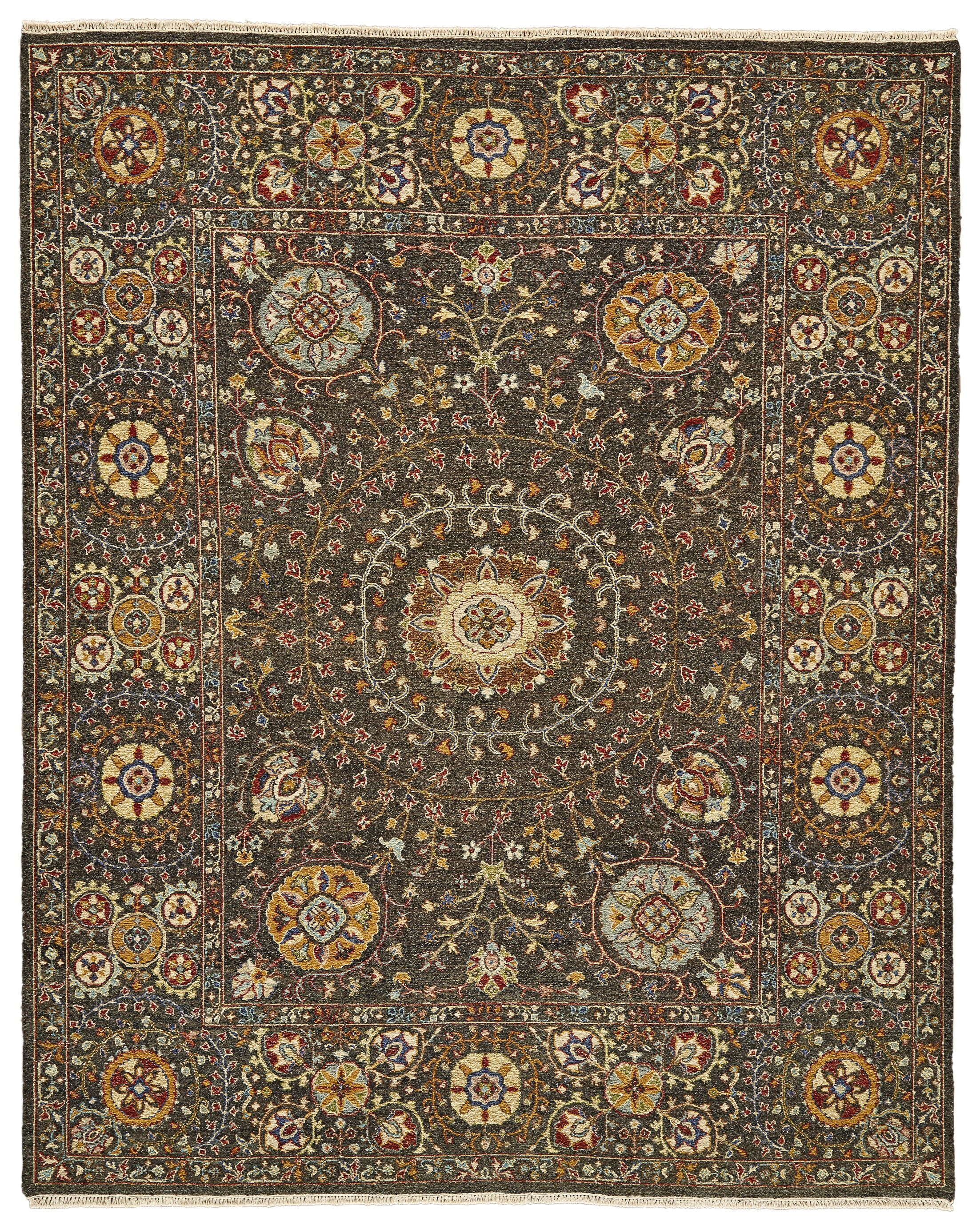Kondo Hand-Knotted Wool Charcoal Area Rug Rug Size: Rectangle 9'6