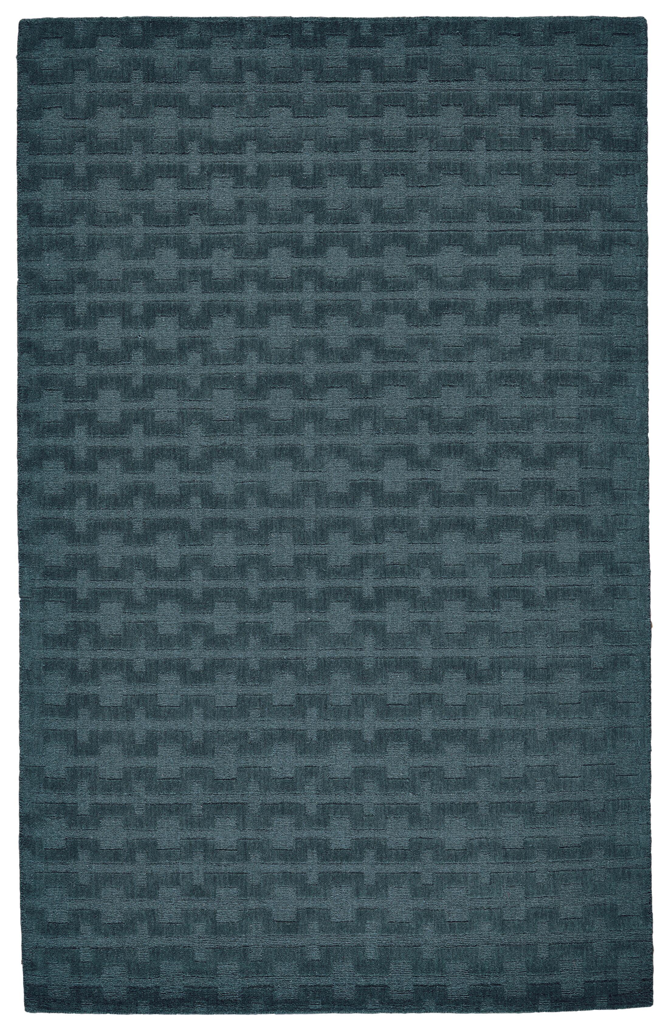 Mcnab Hand-Tufted Wool Teal Area Rug Rug Size: Rectangle 8' x 11'