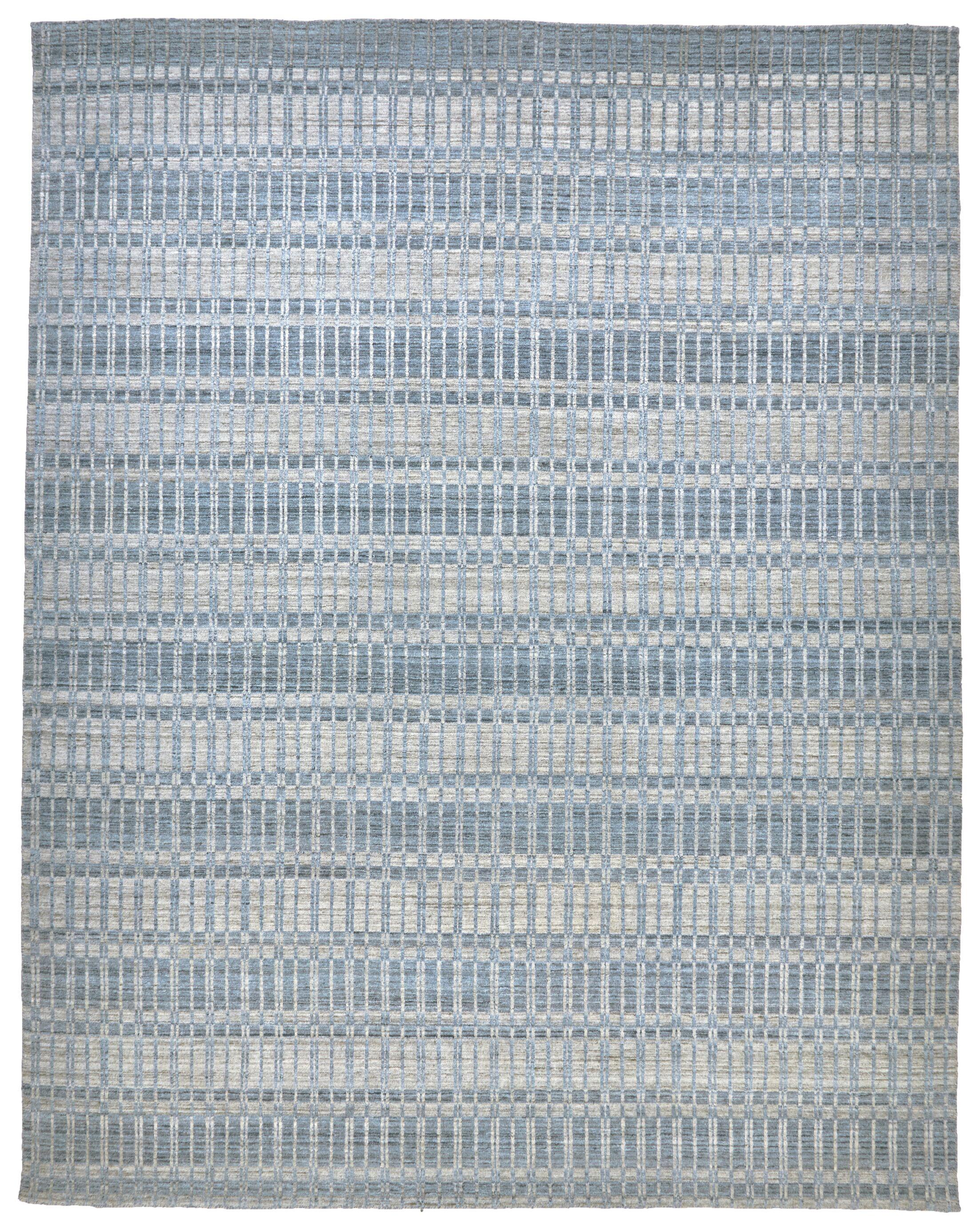 Dellaposta Hand-Woven Blue/Silver Area Rug Rug Size: Rectangle 5' x 7'6